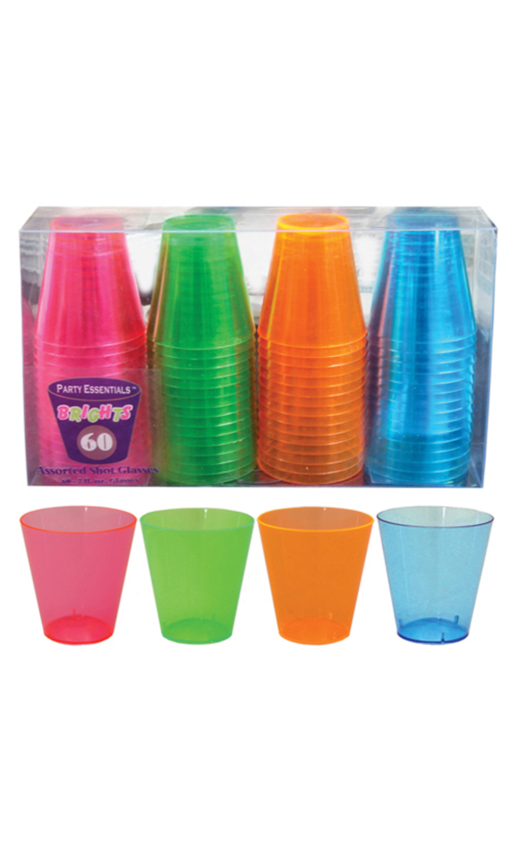 60 ml Hard Plastic Neon Shot Glasses (60 Pc)