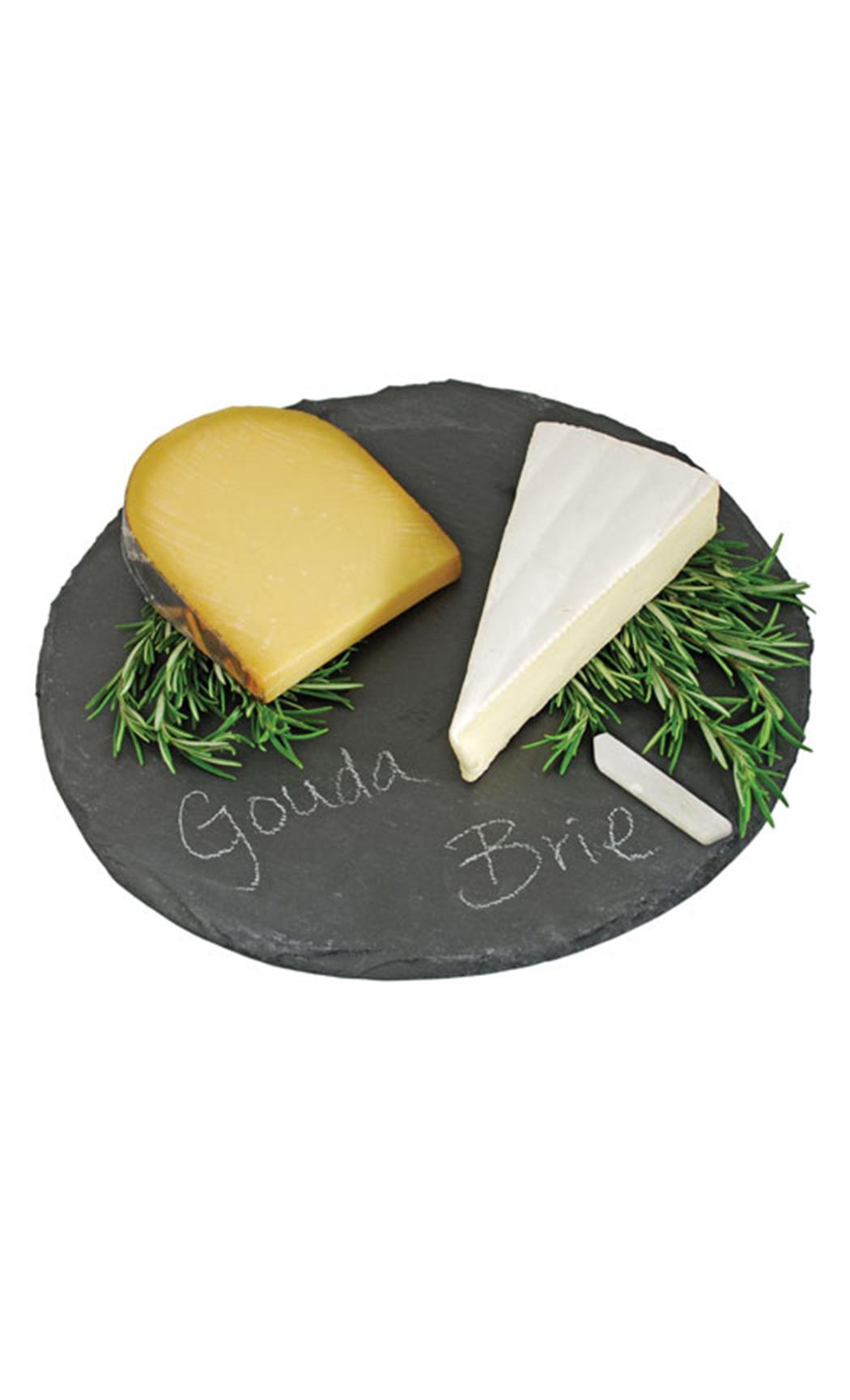 Round Slate Cheeseboard And Chalk Set
