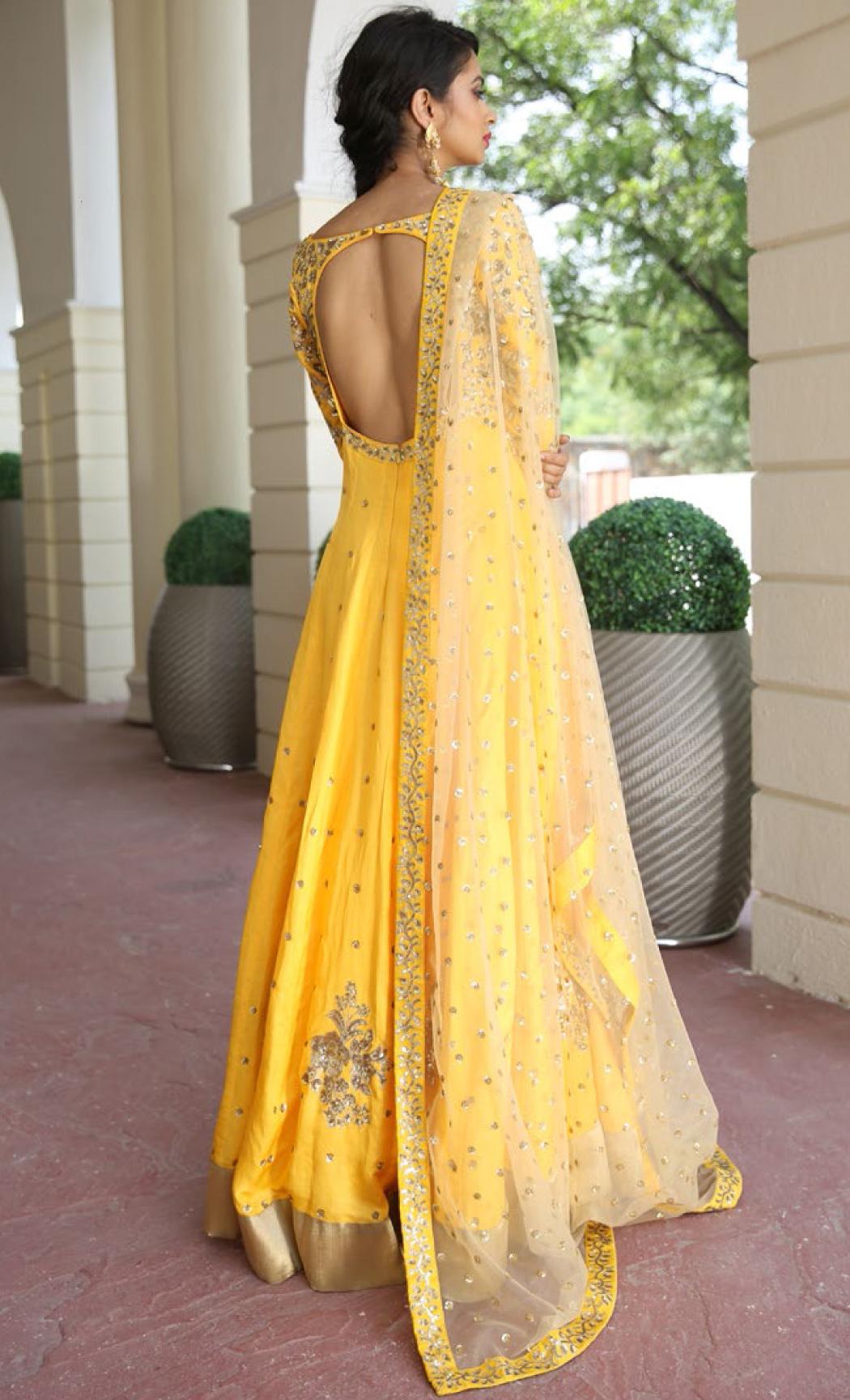 Ocher Yellow Embroidered Anarkali Kurta Set