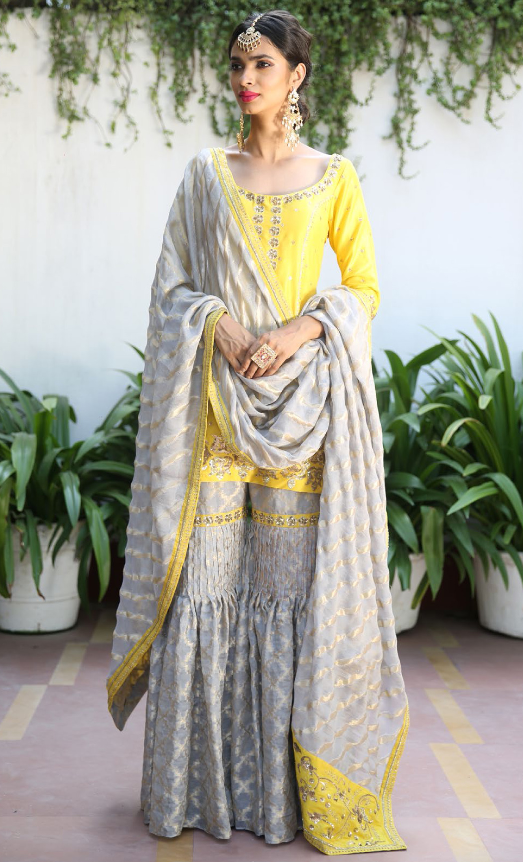 Sunflower Yellow Kurta and Ash Grey Gharara Set