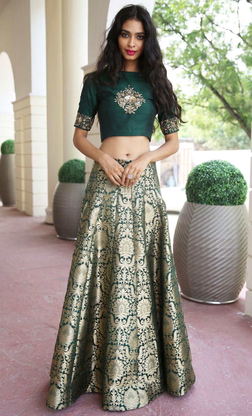 Deep Green Crop Top and a High Waisted Kalidar Lehenga Skirt