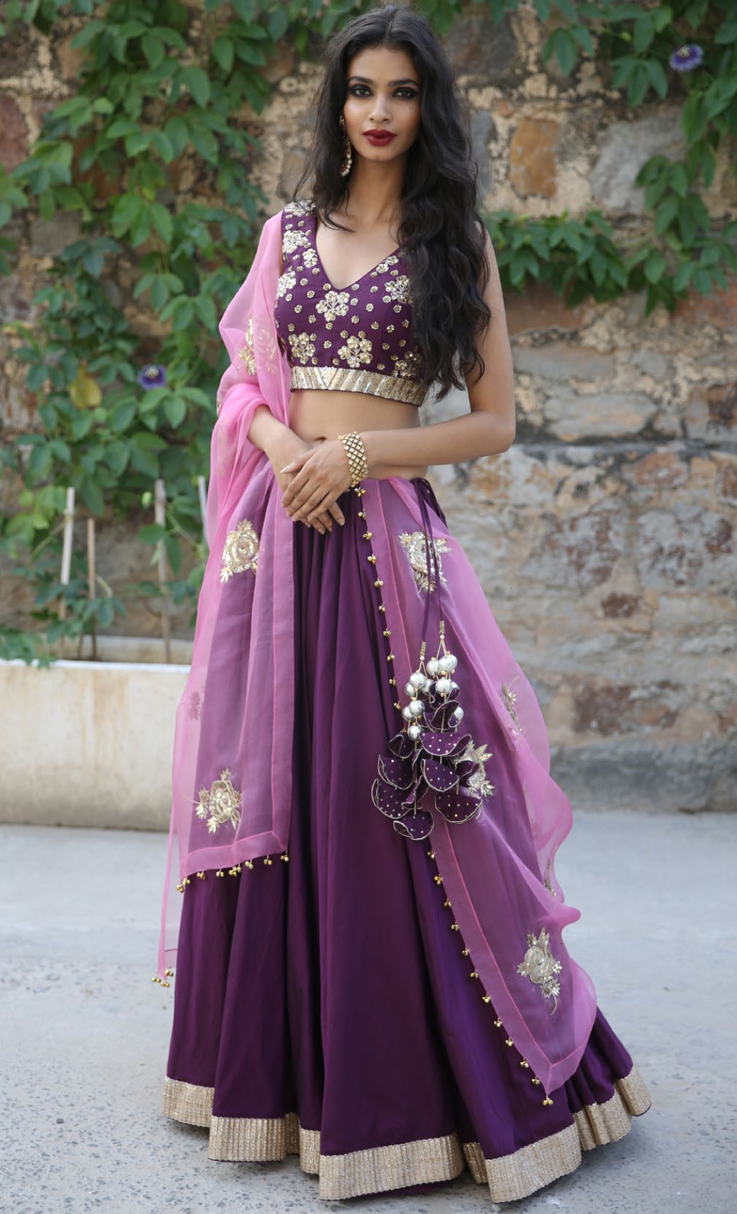 Purple Chanderi Silk Lehenga Set