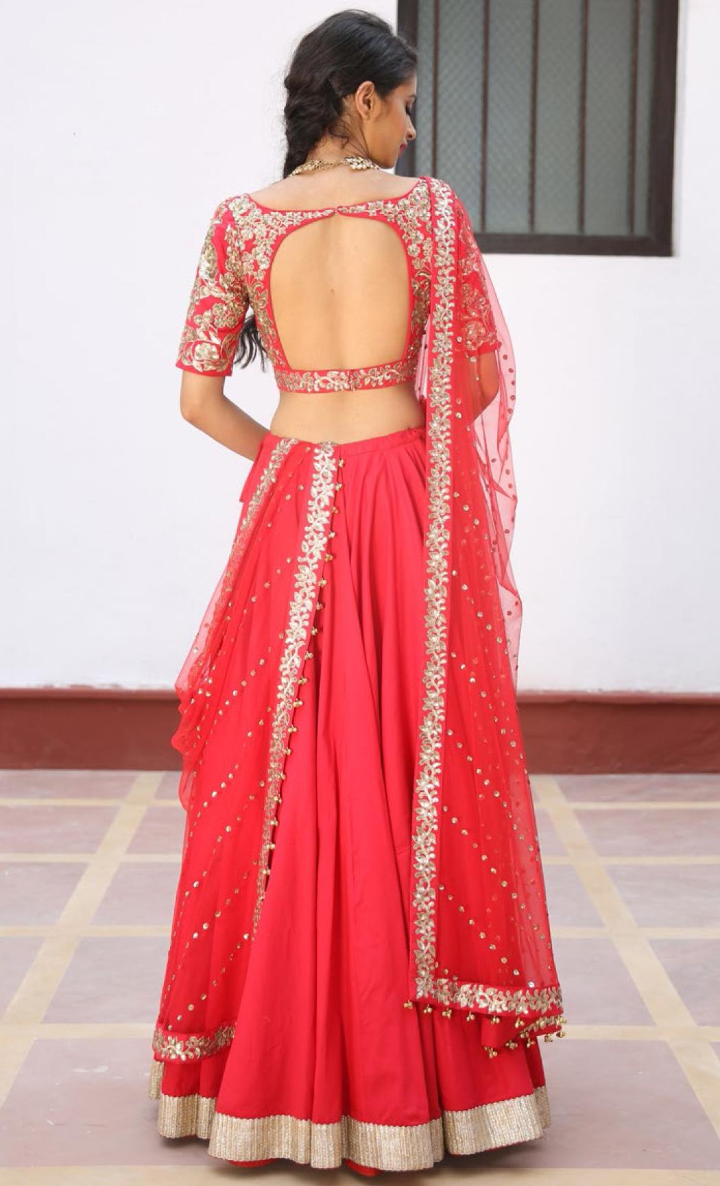 Crimson Red Hand Embroidered Lehenga Set