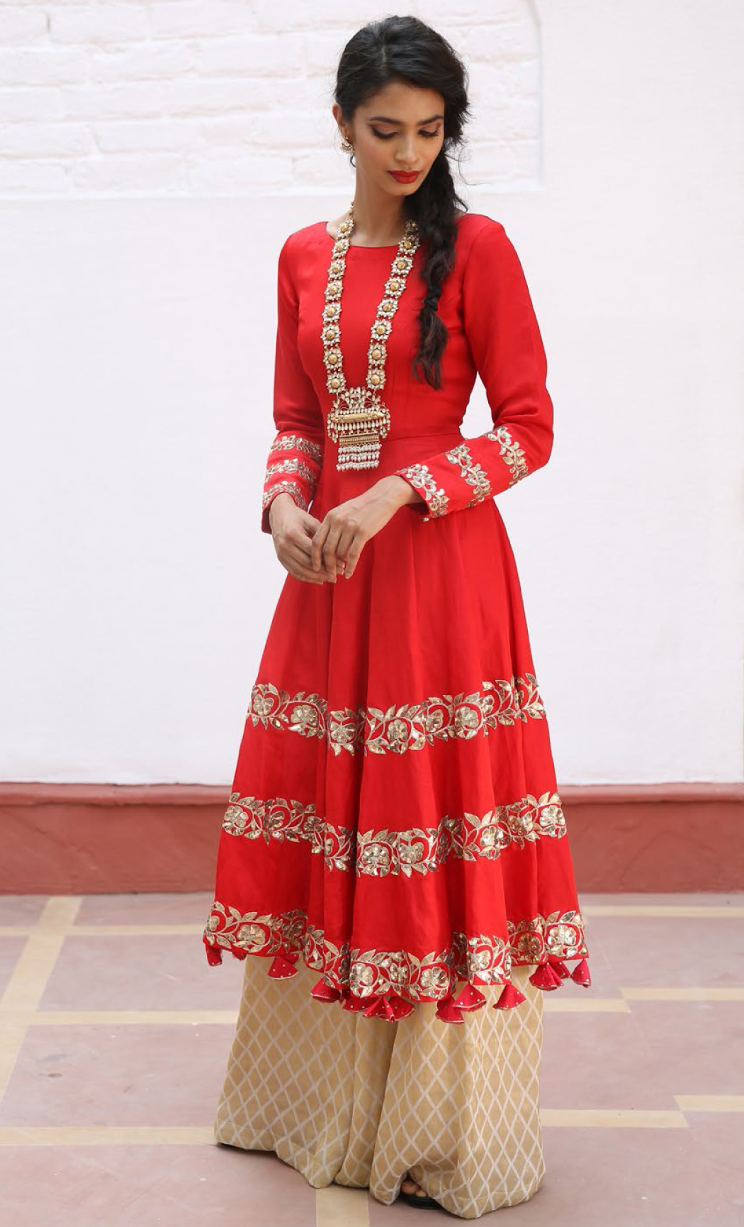 Crimson Red Embroidered Kalidar Kurta Set