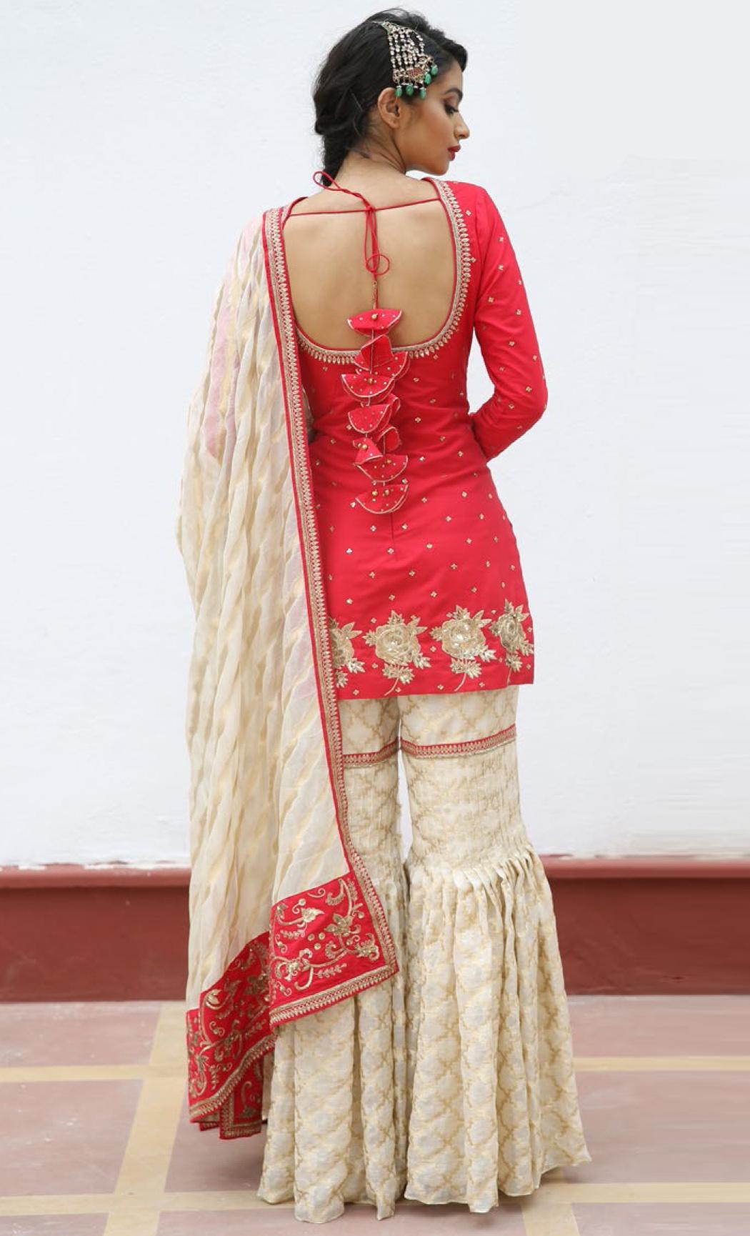 Crimson Red Kurta and Ivory Gharara Set