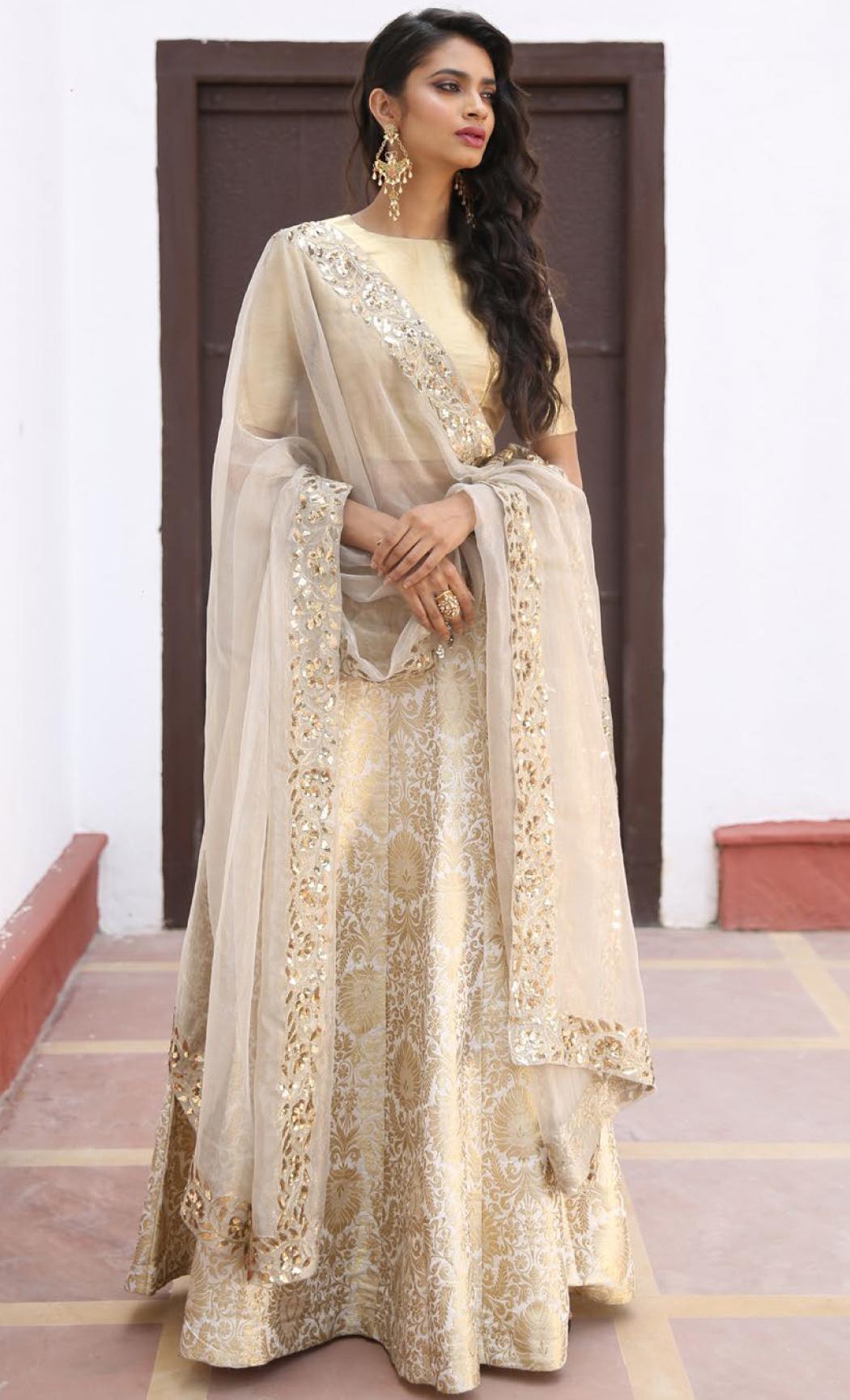 Ivory and Gold Zardosi Kalidar Lehenga Set