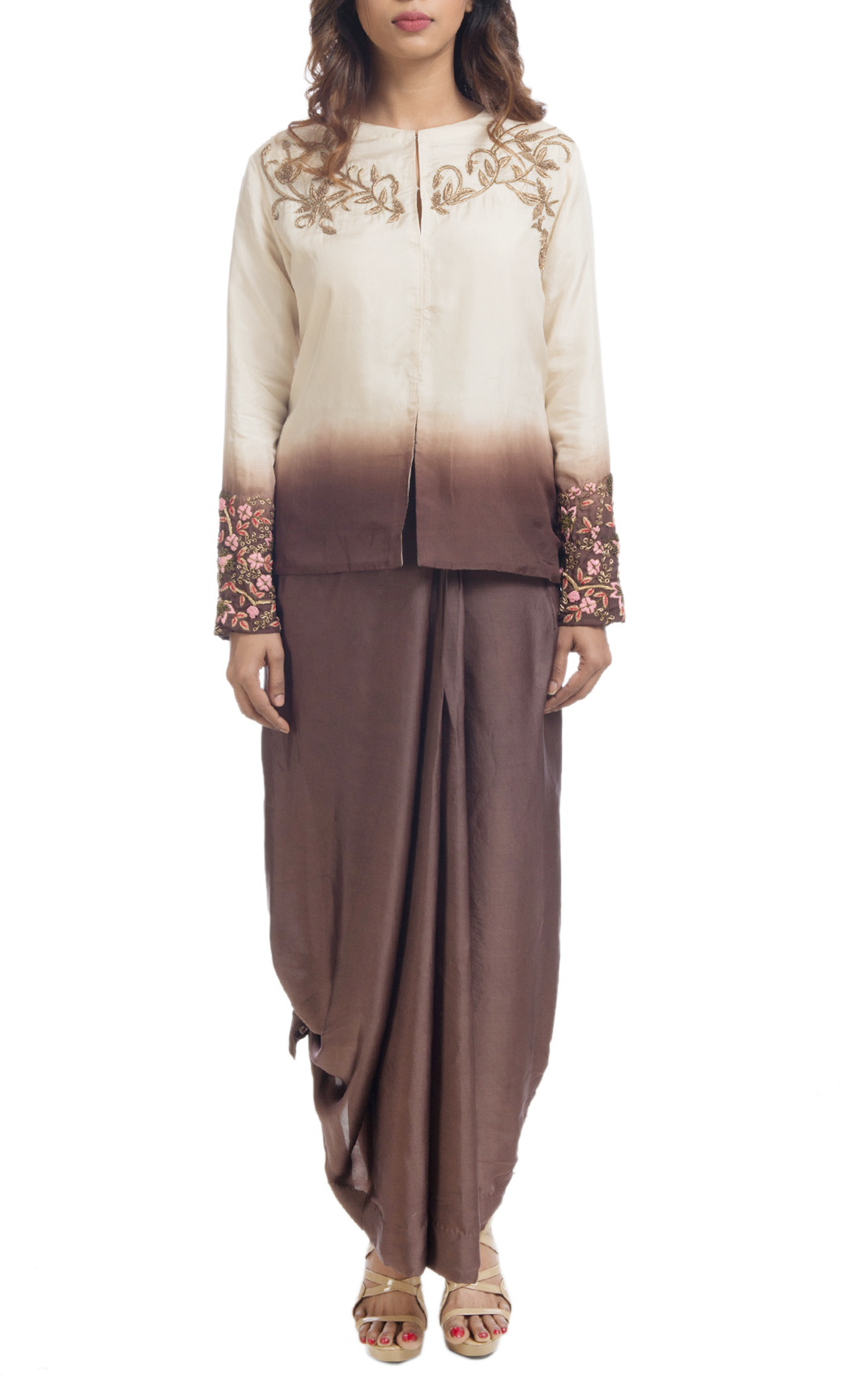 Brown and Off-White Shaded Jacket with a Pleated Skirt