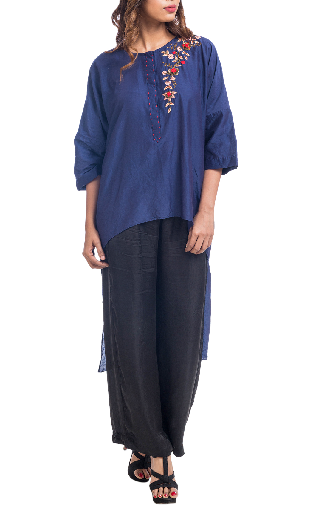 Blue Embroidered High-Low Tunic