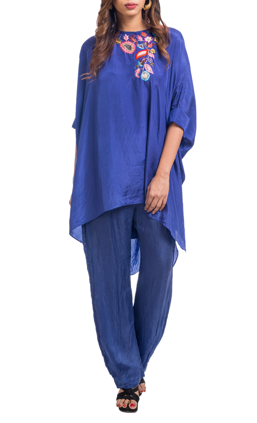 Blue Embroidered Asymmetrical Tunic with Broad Pants