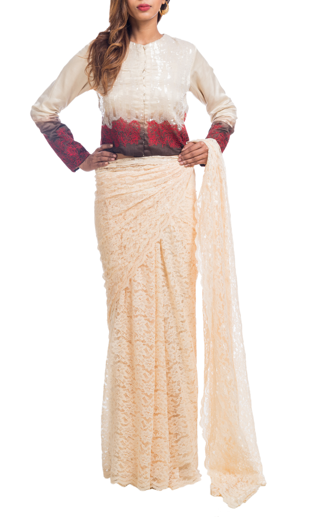 Cream Lace Saree with a Jacket Blouse