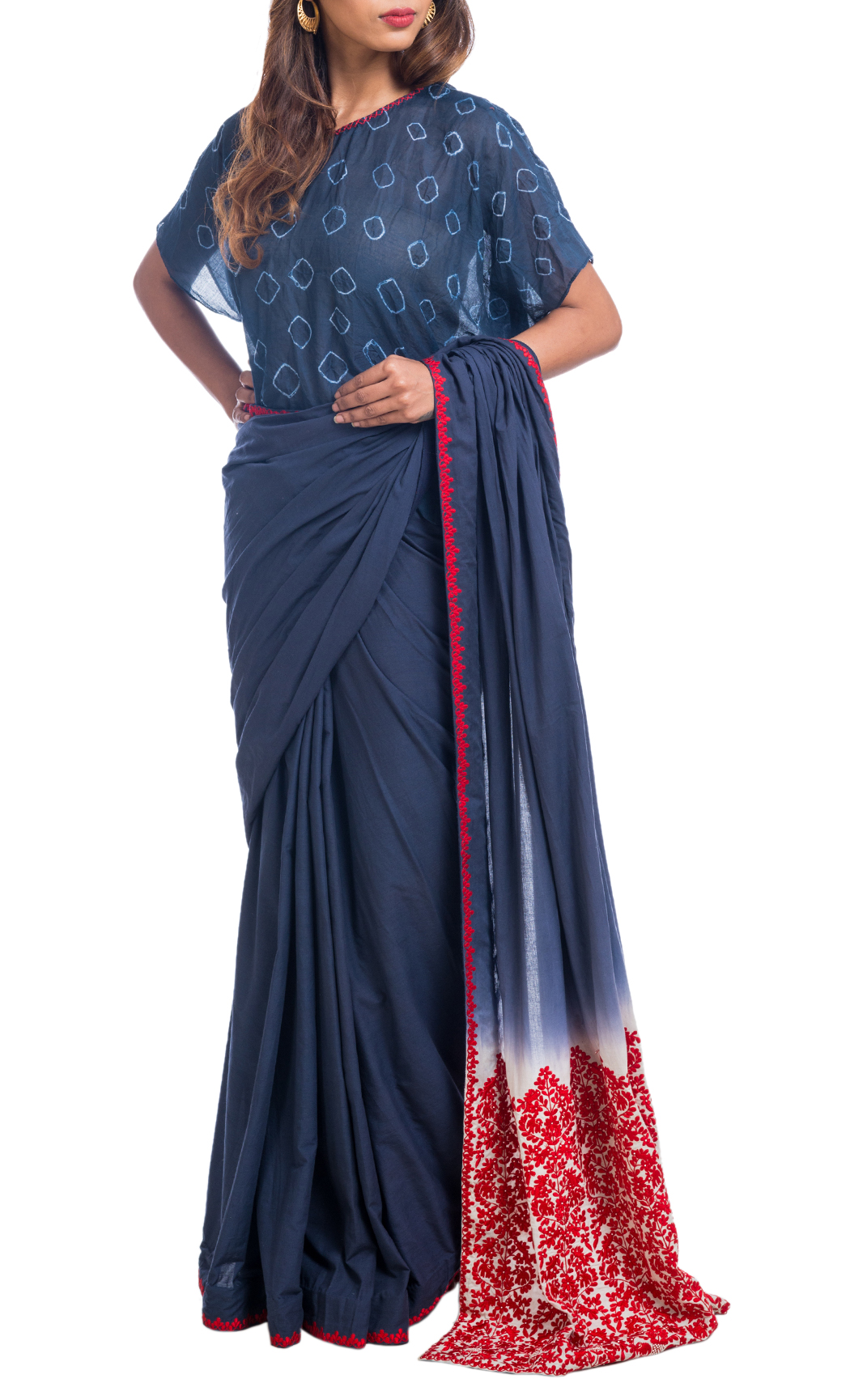 Indigo Embroidered Saree with a Shibori Anti-Fit Blouse
