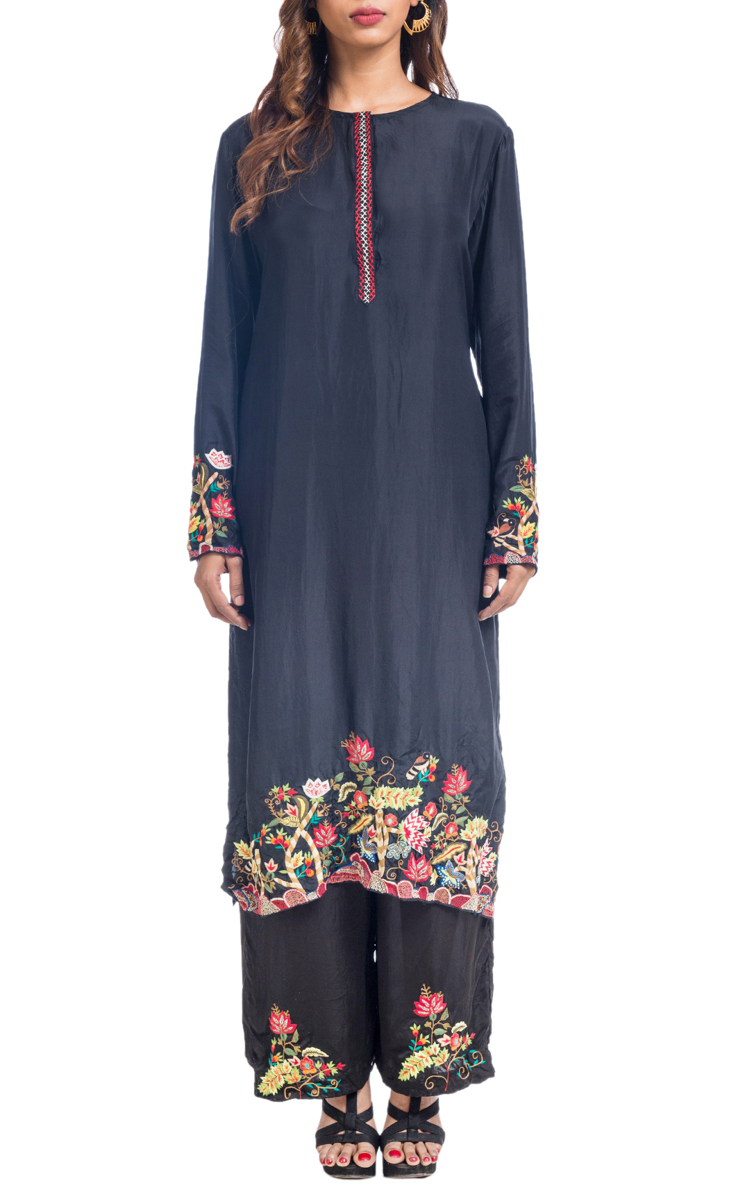Birds of the Forest' Embroidered Kurta