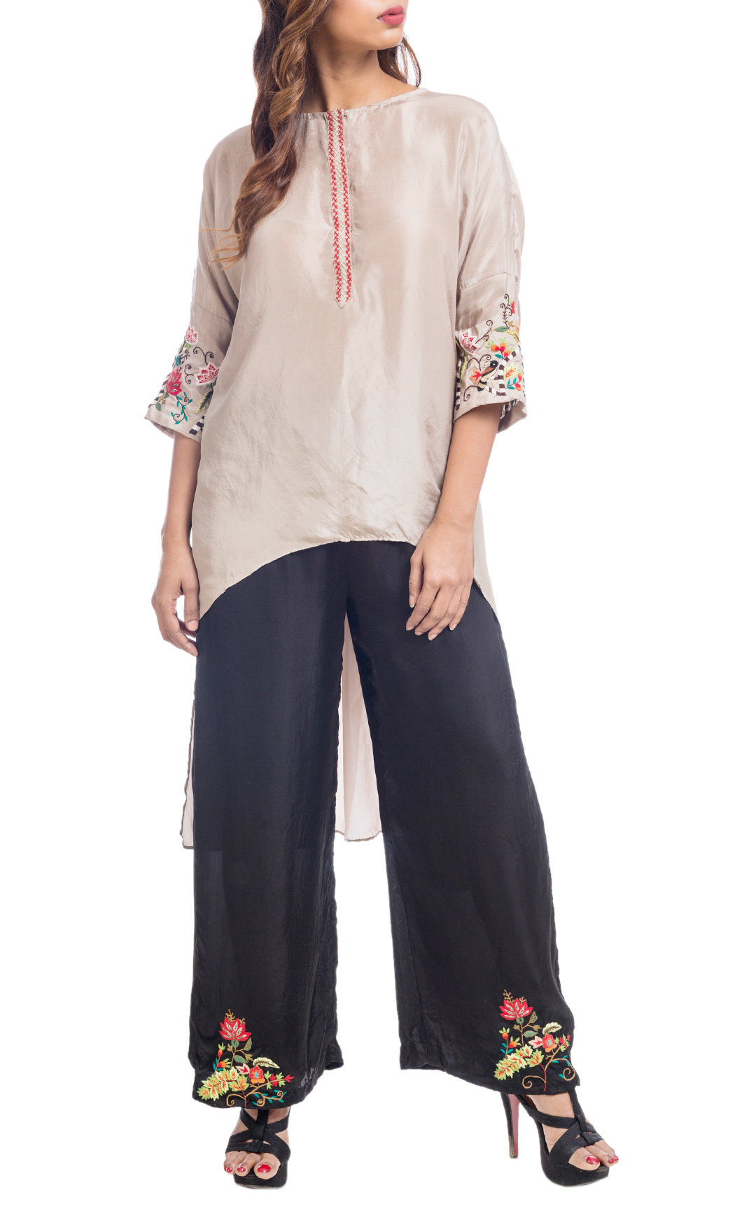 Birds of the Forest' Asymmetric Kurta with Embroidered Pants