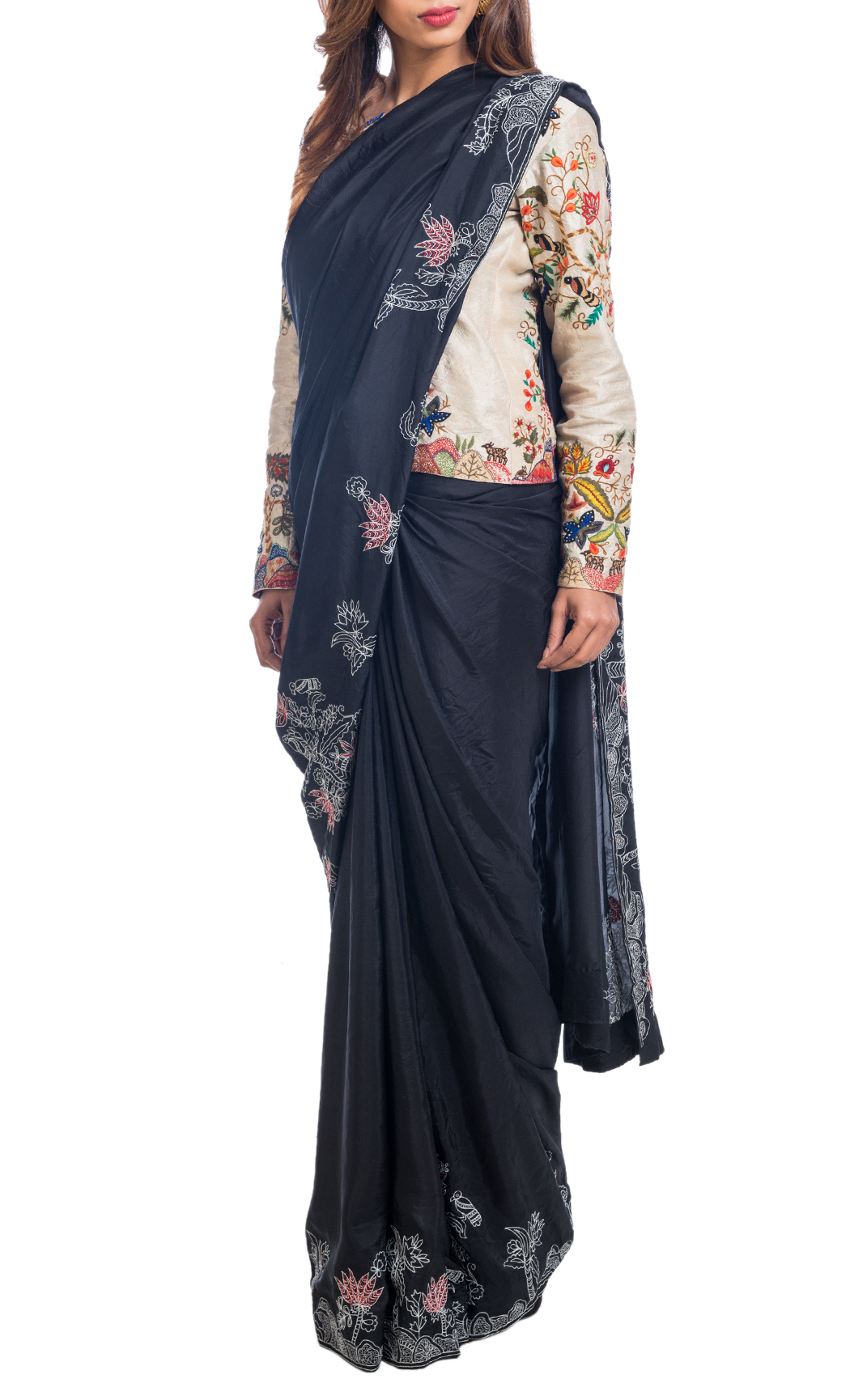 Black Crushed Silk Saree with a Beige Embroidered Jacket