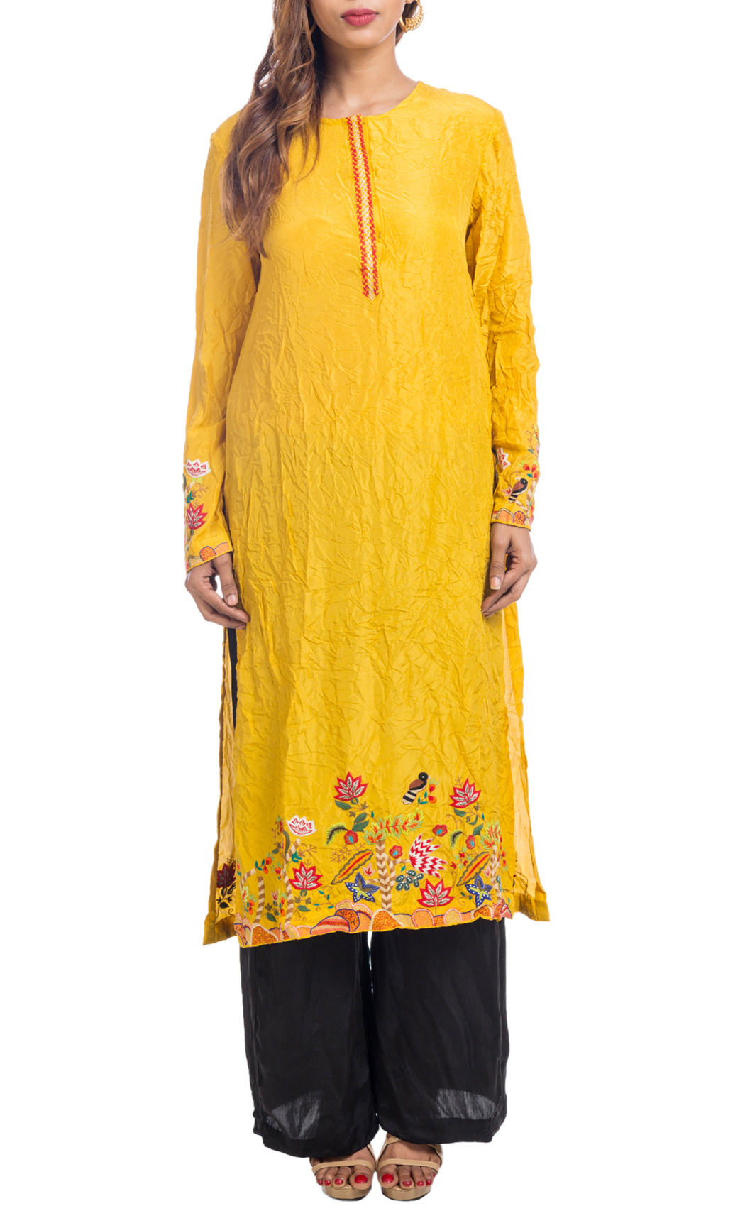 Birds of the Forest' Embroidered Yellow Kurta
