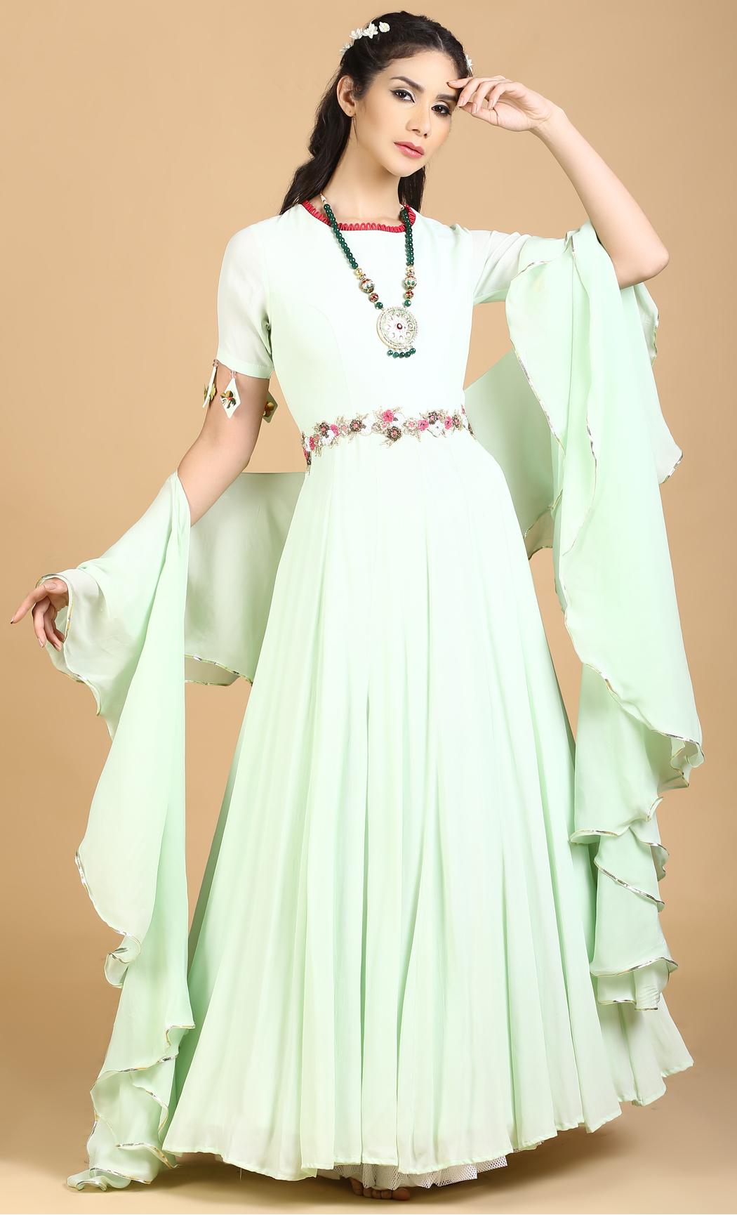 Sea Foam Green Anarkali Gown