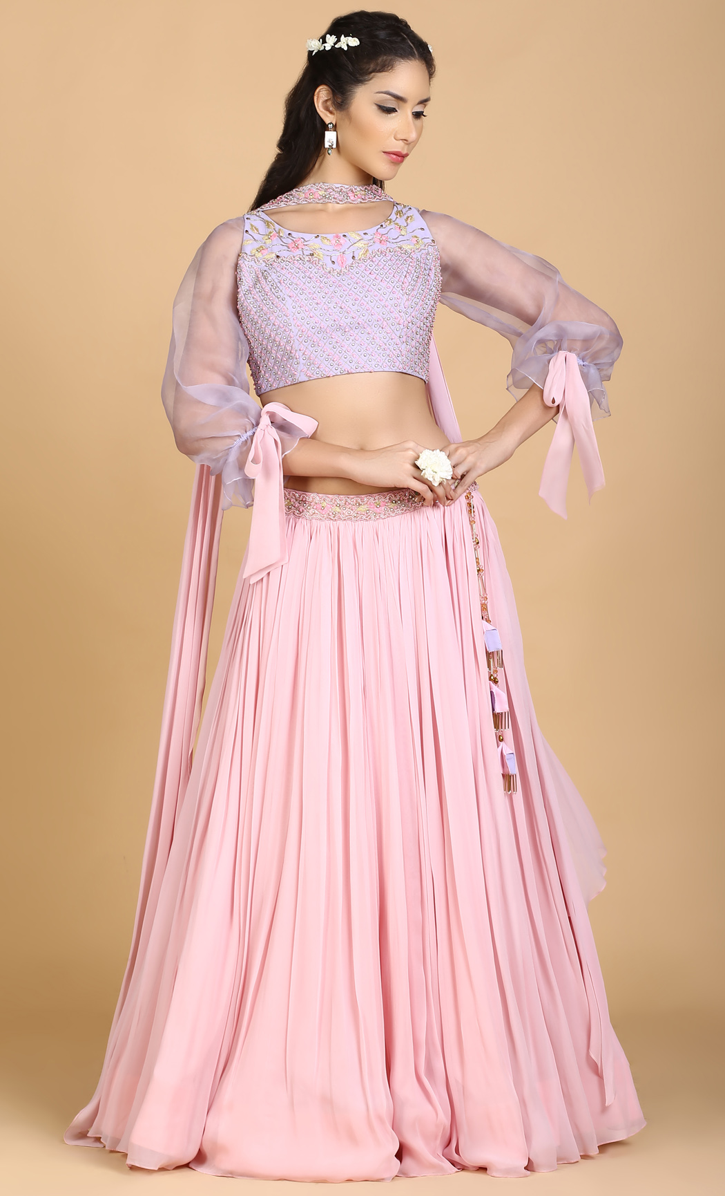 Violet and Powder Pink Lehenga Set