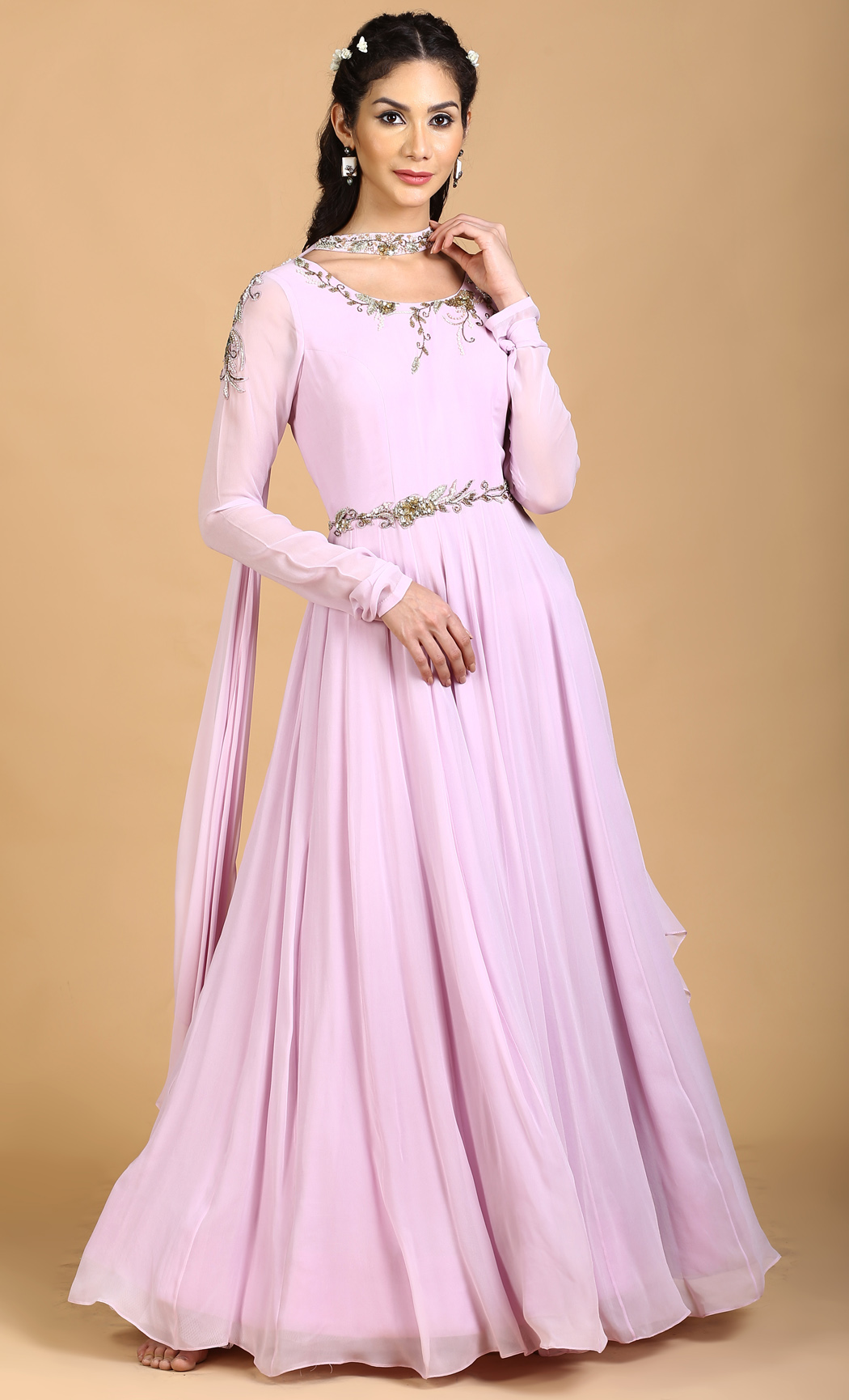 Lilac Anarkali Gown with a Choker Dupatta