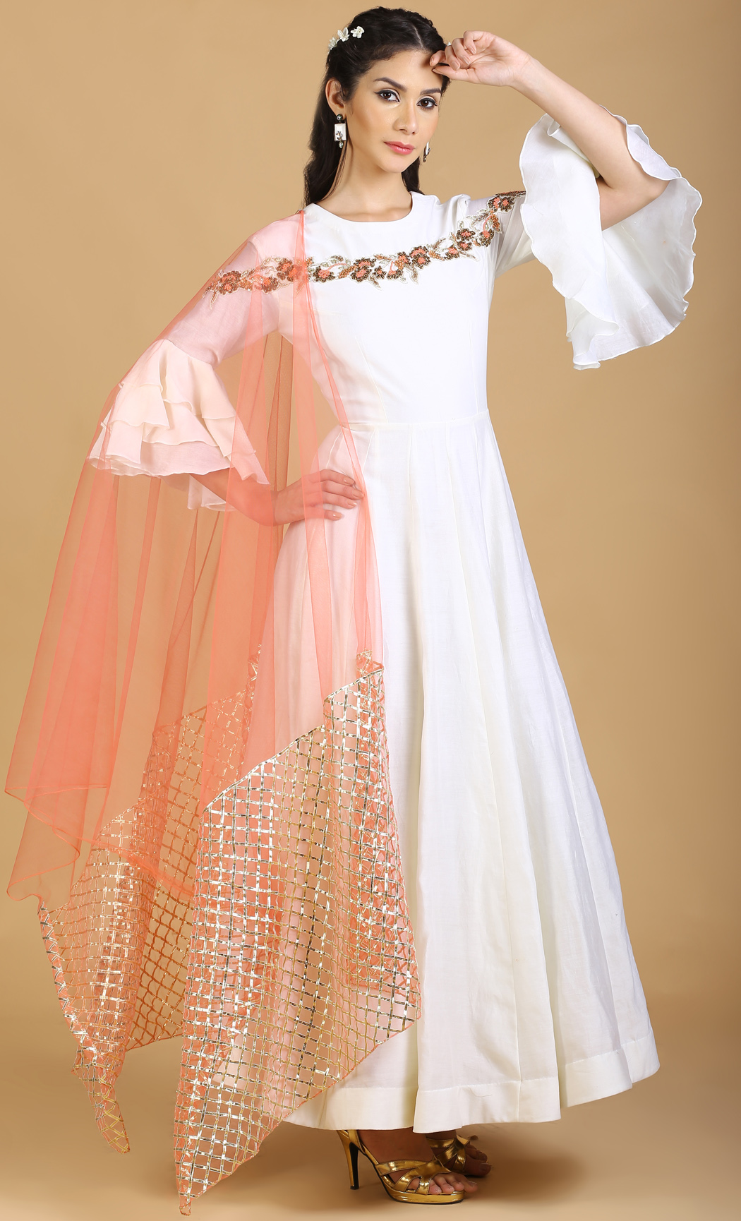 Powder White Ankarkali Suit Gown