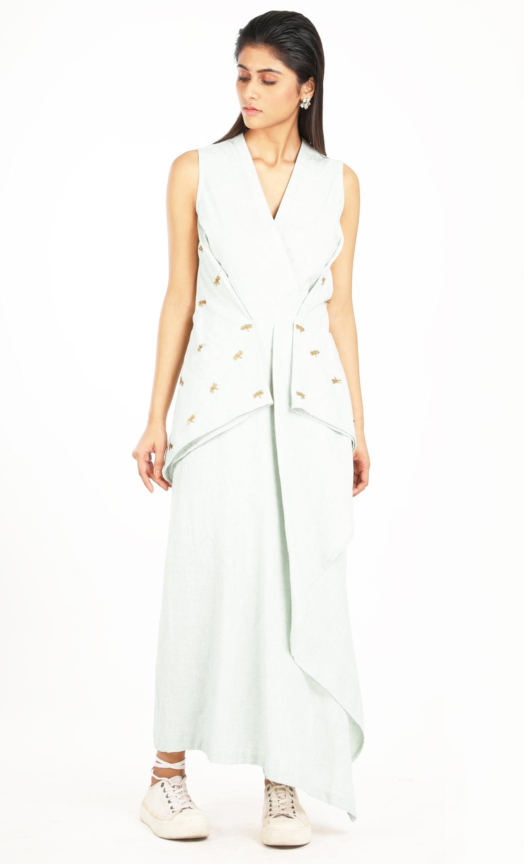 Blue Khadi Embroidered Drape Dress