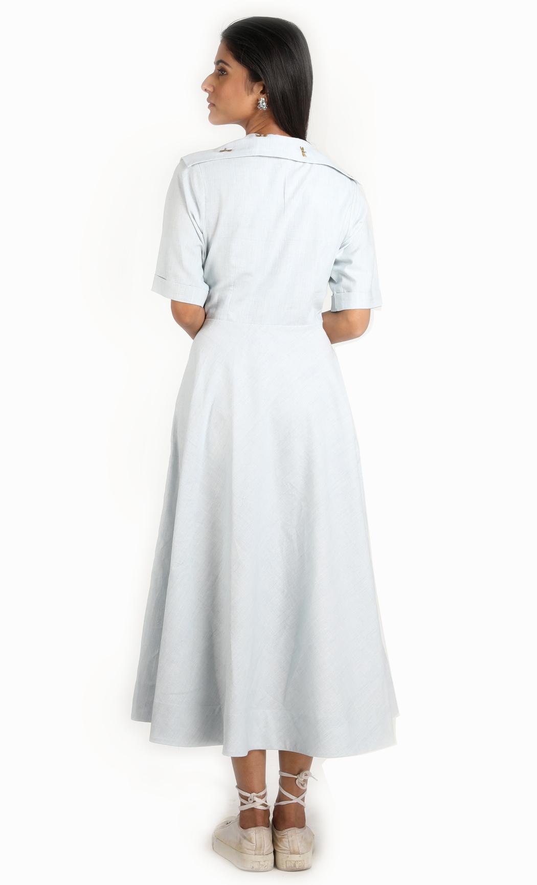 Blue Khadi Embroidered Broad Collar Dress