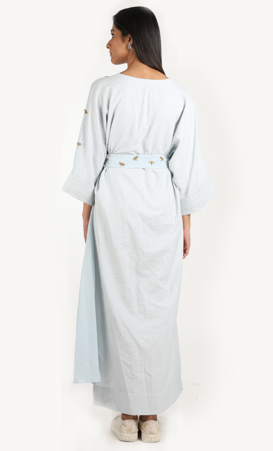 Blue Khadi Drape Dress