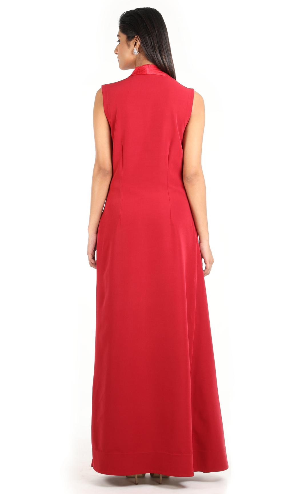 Maroon Sleeveless Cowl Draped Dress