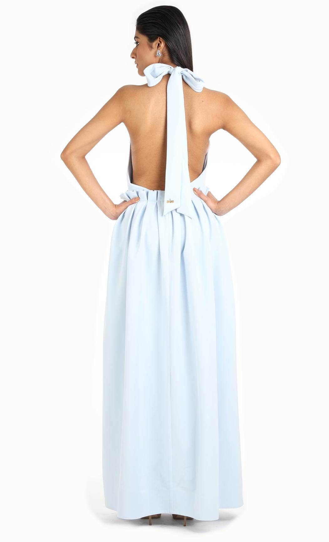 Ice Blue Haulter Neck Maxi Dress