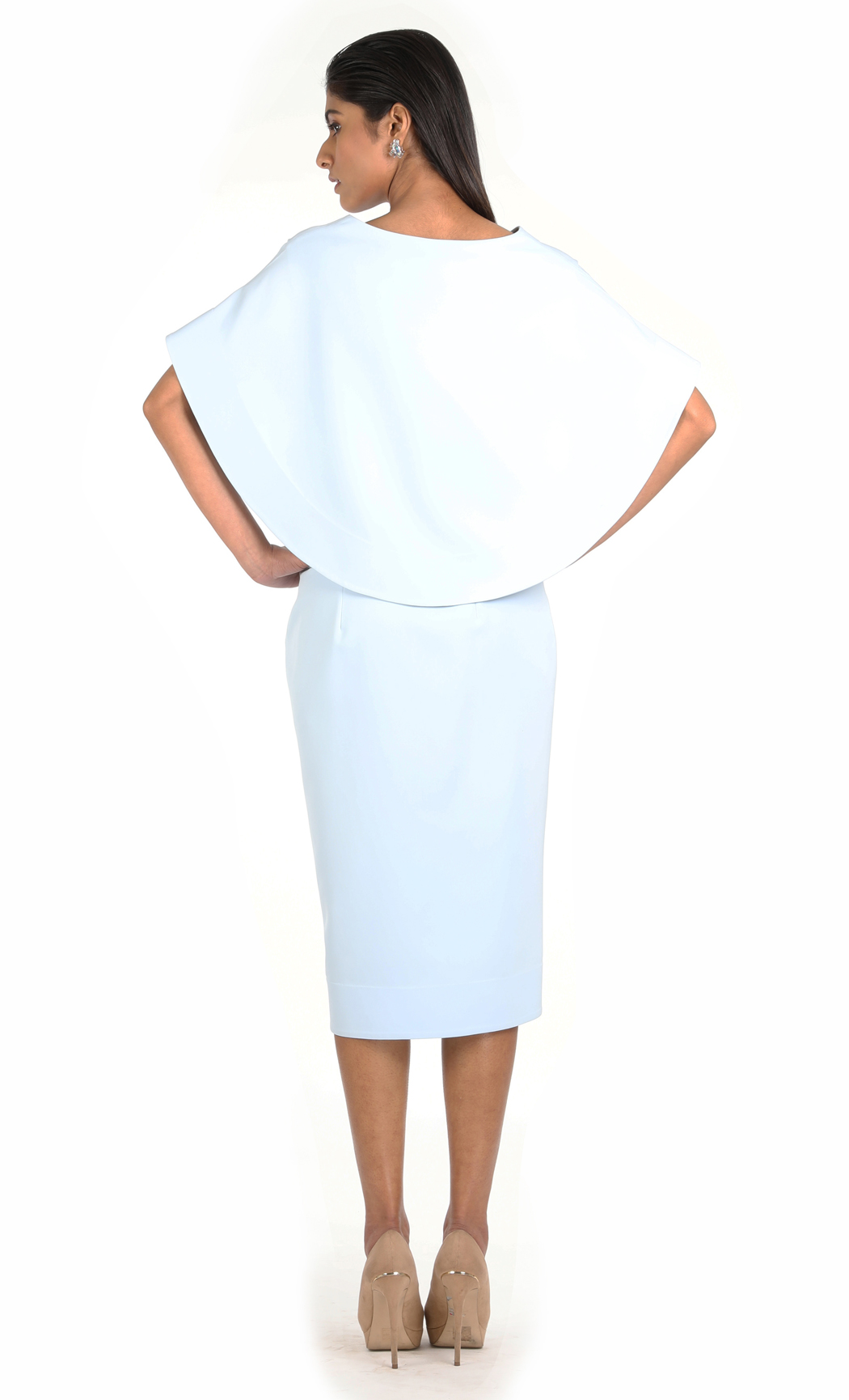 Ice Blue Embroidered Knee Length Dress