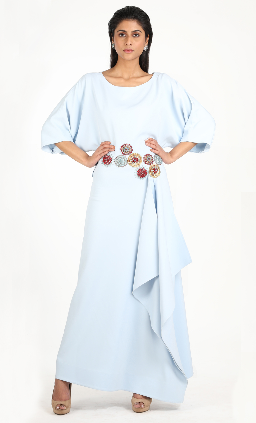 Ice Blue Draped Maxi Dress
