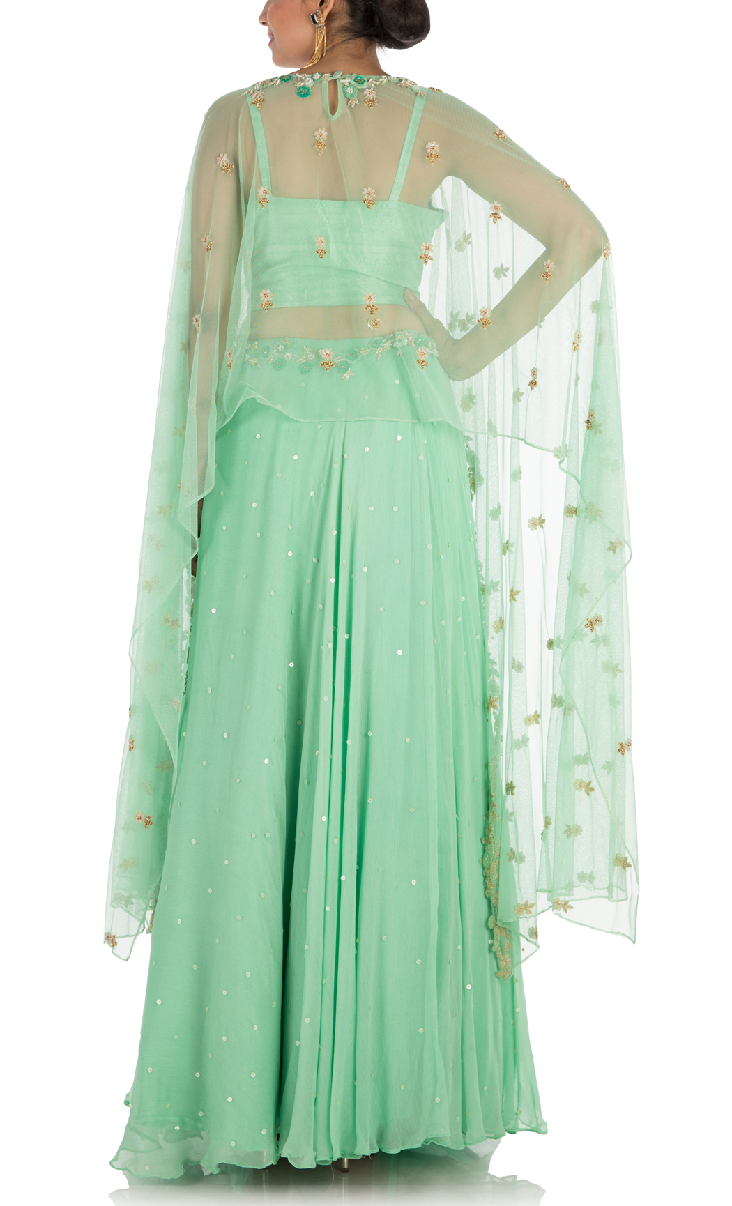 Mint Green Hand Embroidered Lehenga and Cape