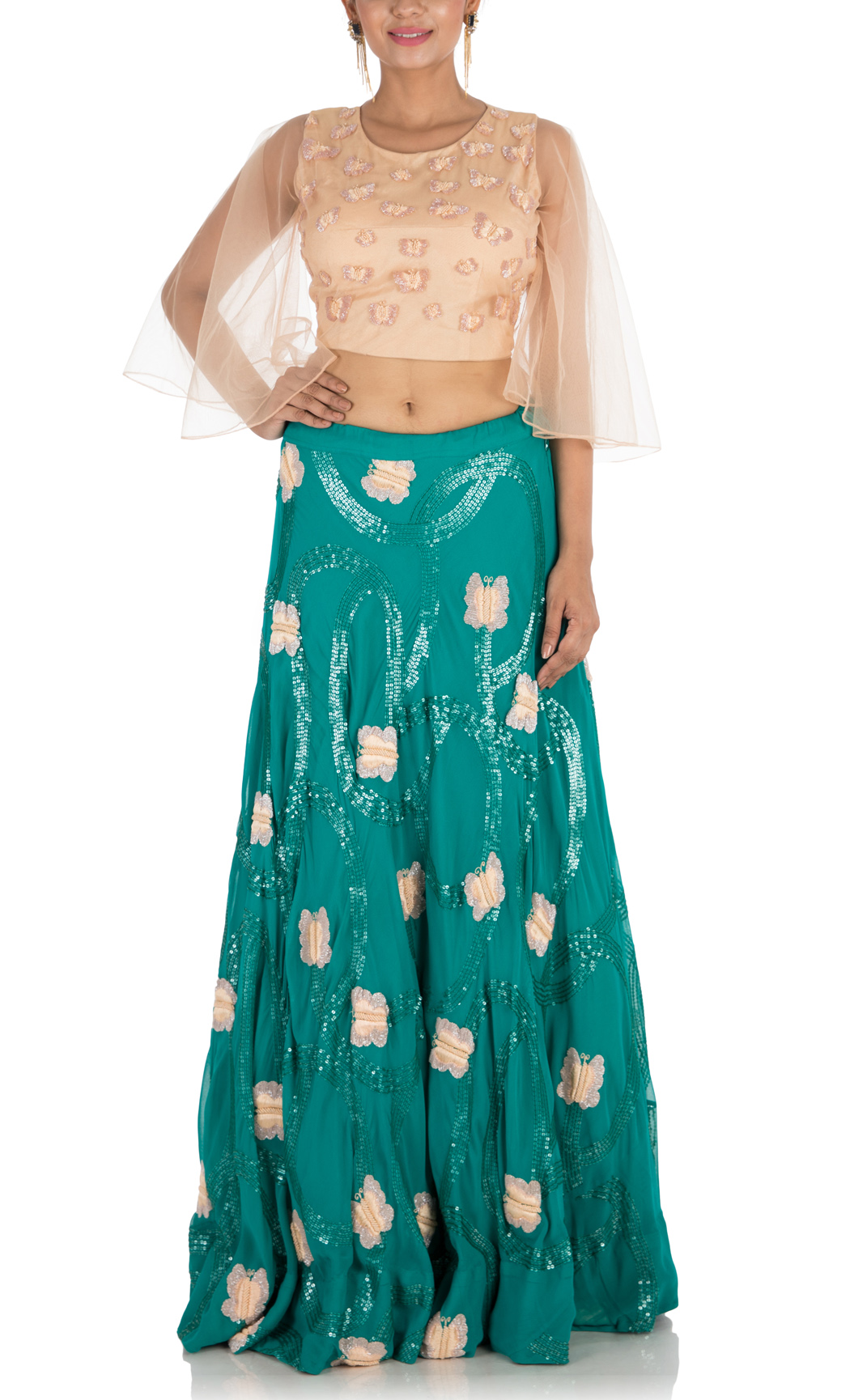 Bottle Green Hand Embroidered Lehenga and Crop Top