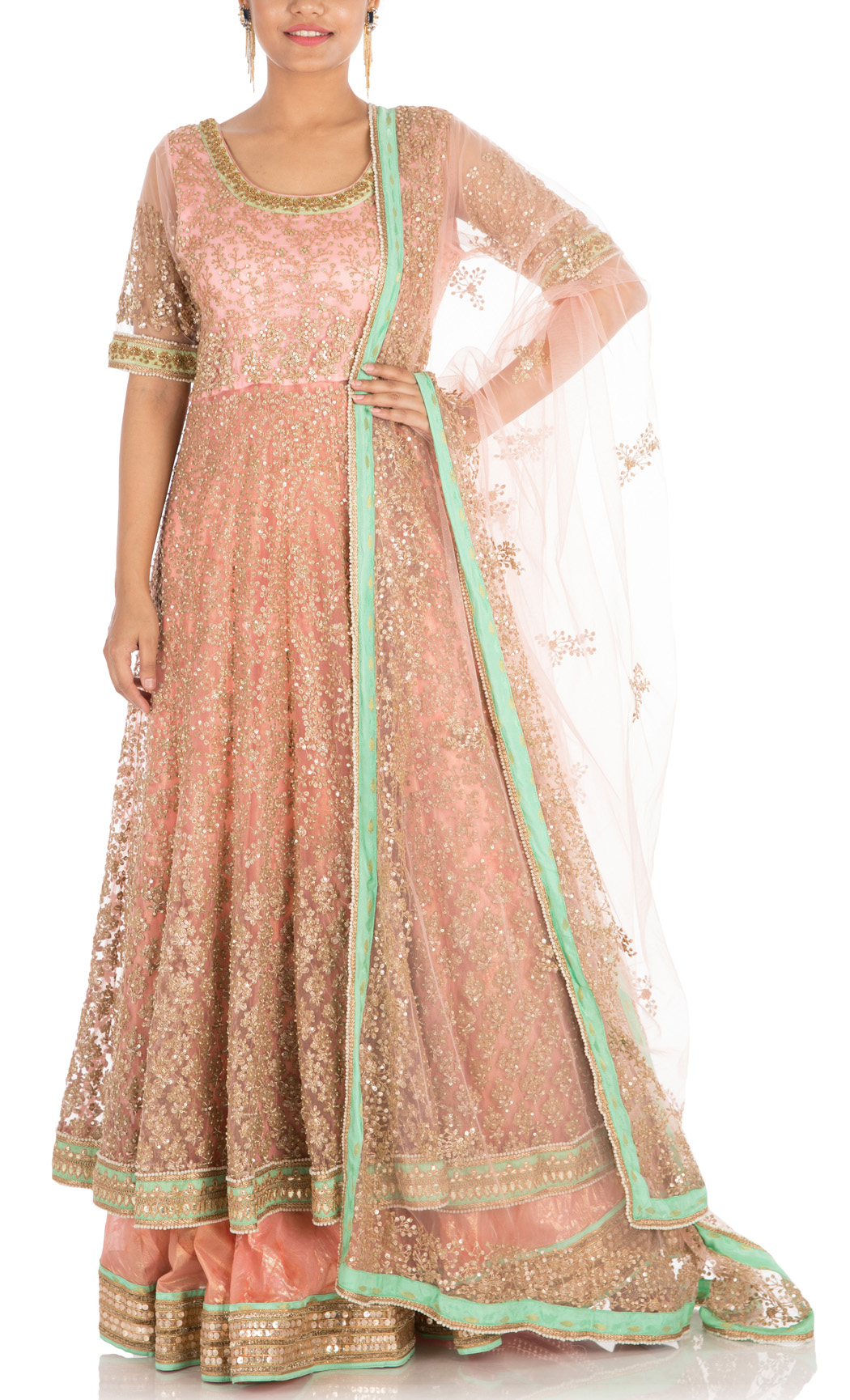 Peach Hand Embroidered Lehenga with Full Length Jacket