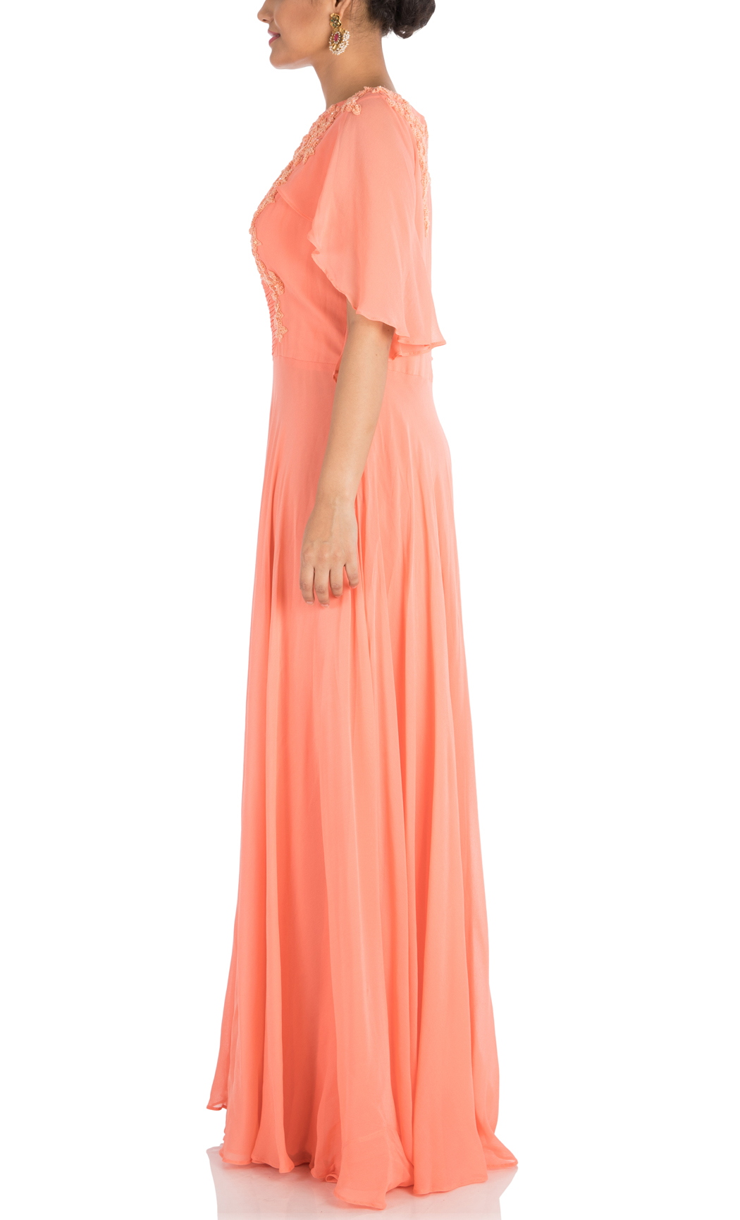 Apricot Hand Embroidered Cape Gown