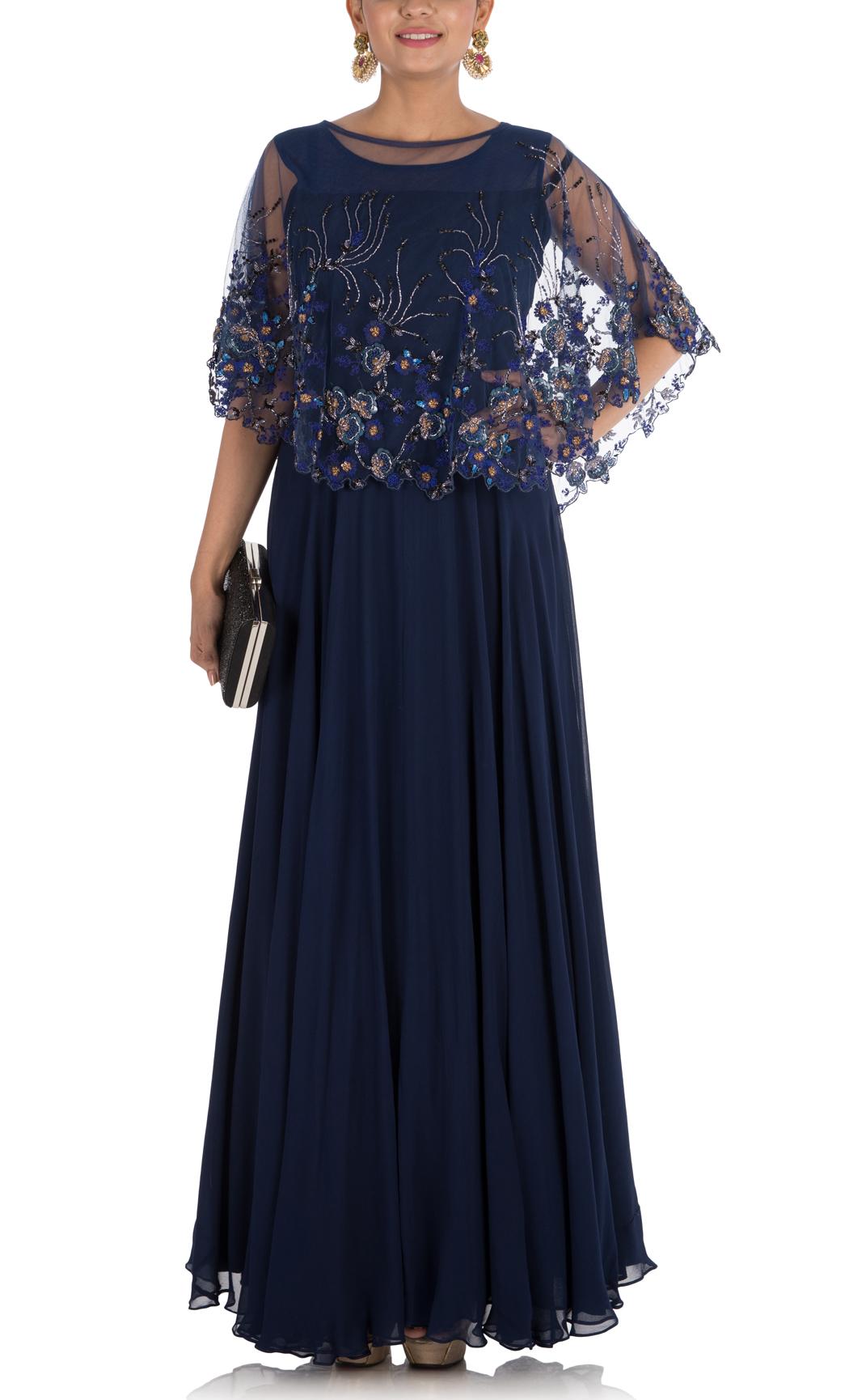 Midnight Blue Indowestern Cape Gown