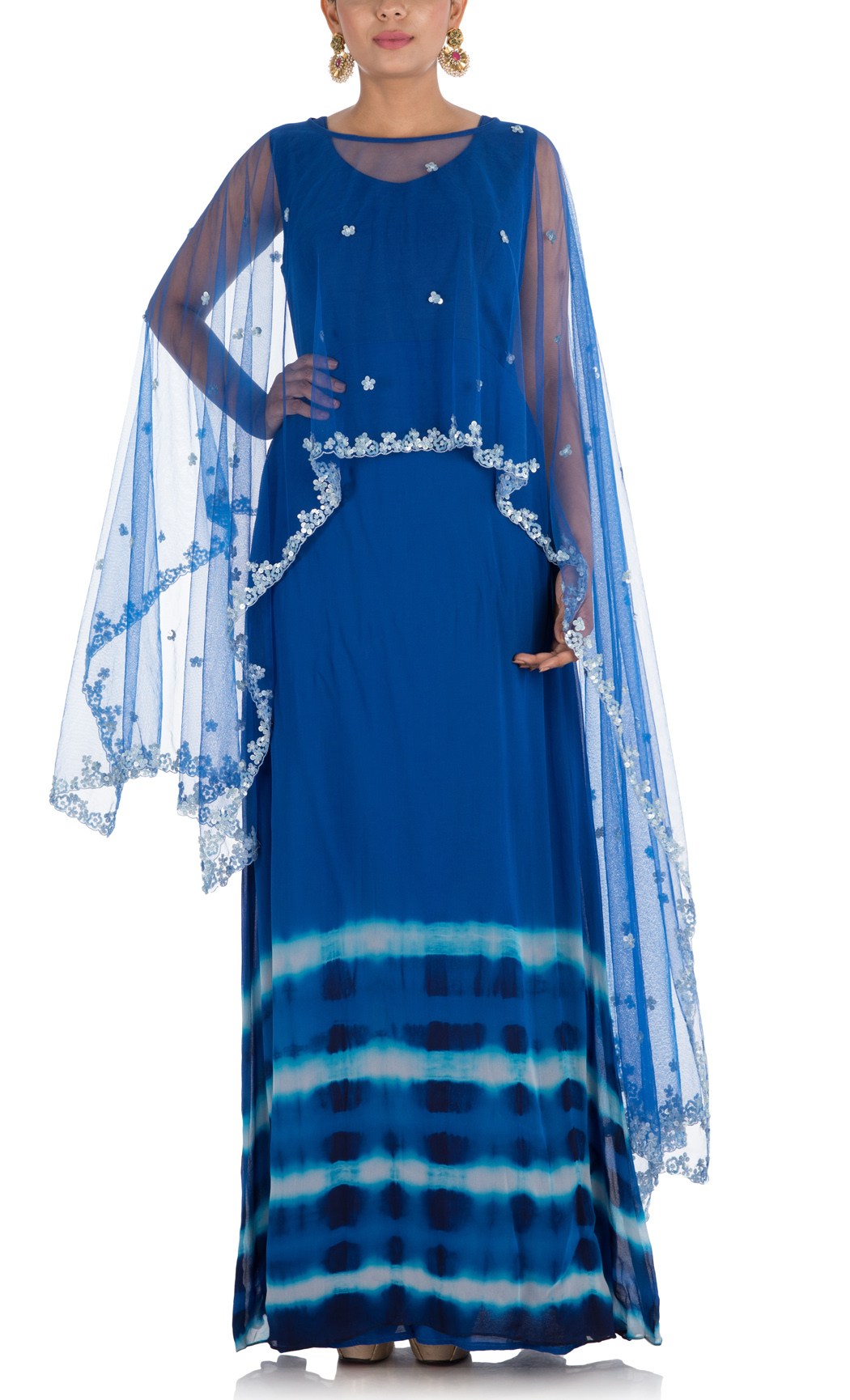 Royal Blue Indowestern Cape Gown