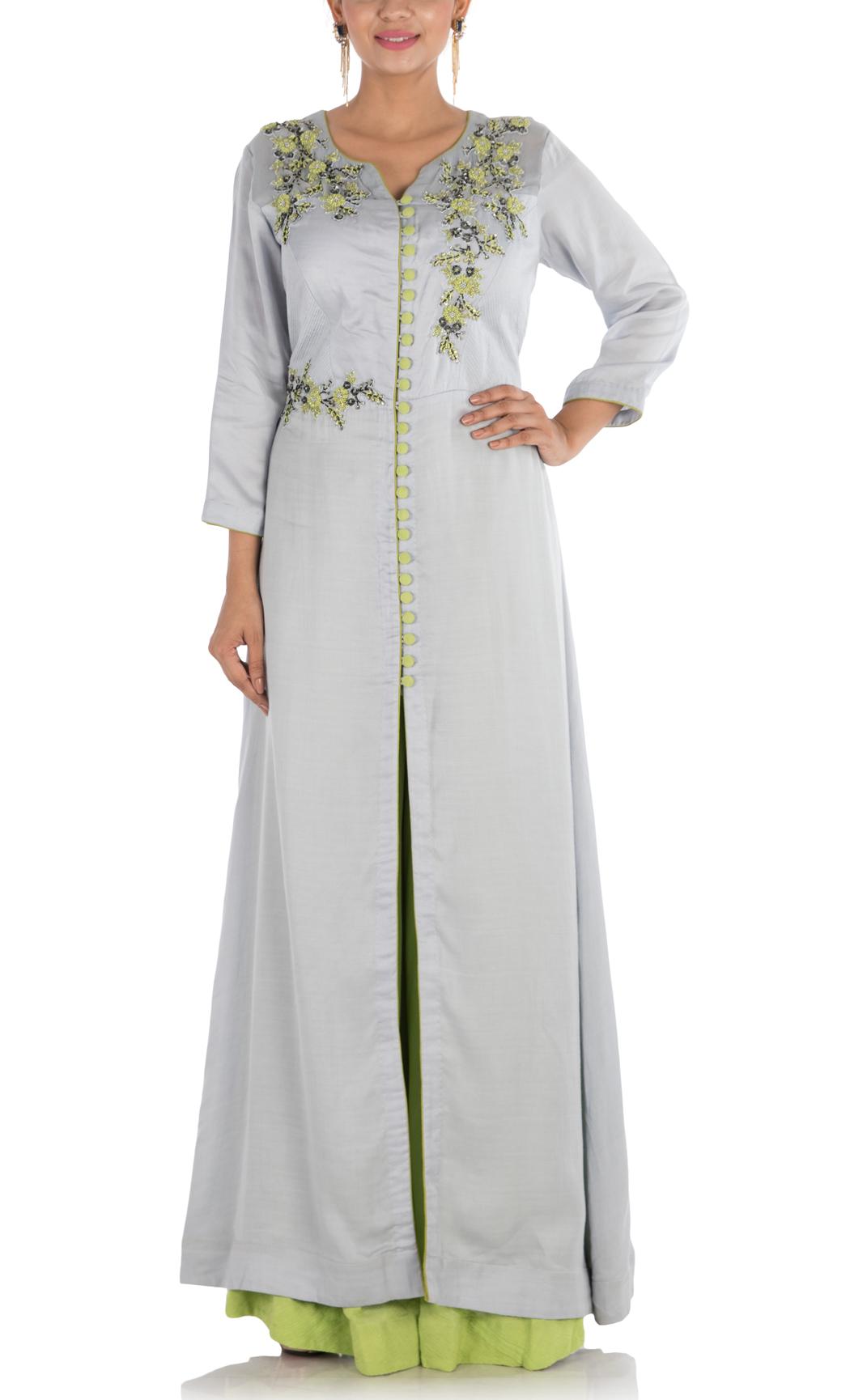 Cloud Grey Hand Embroidered Full Length Jacket and Sharara