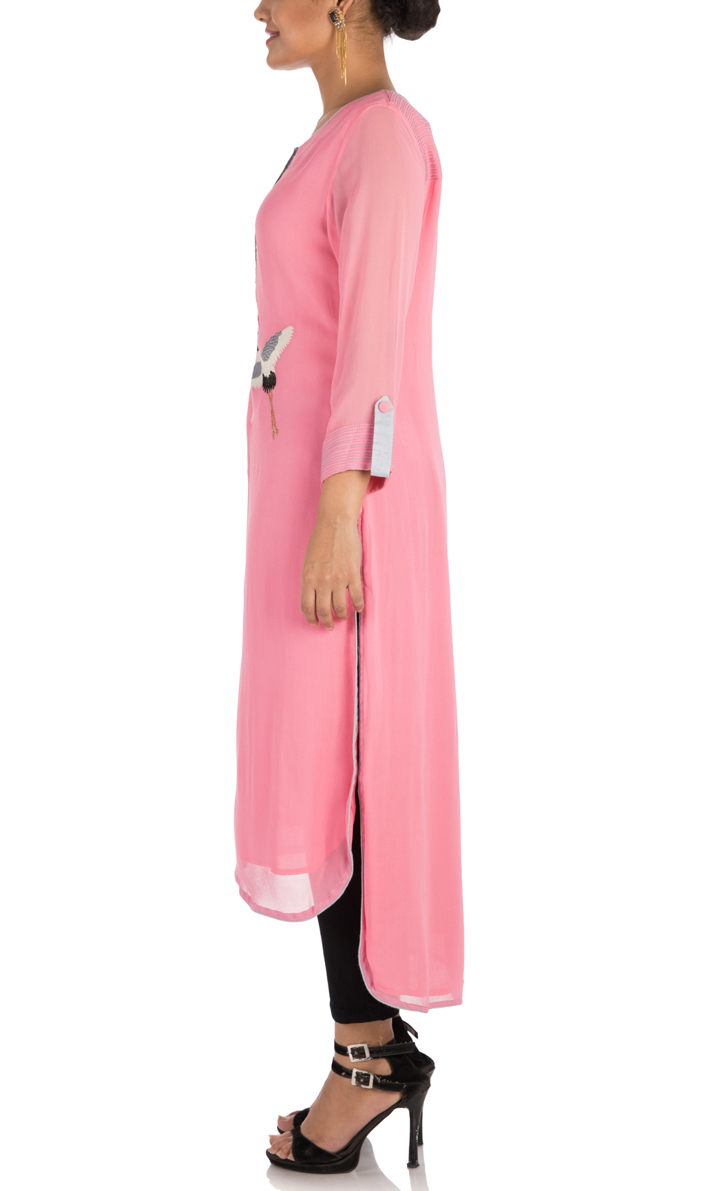 Pink Embroidered High-Low Kurti