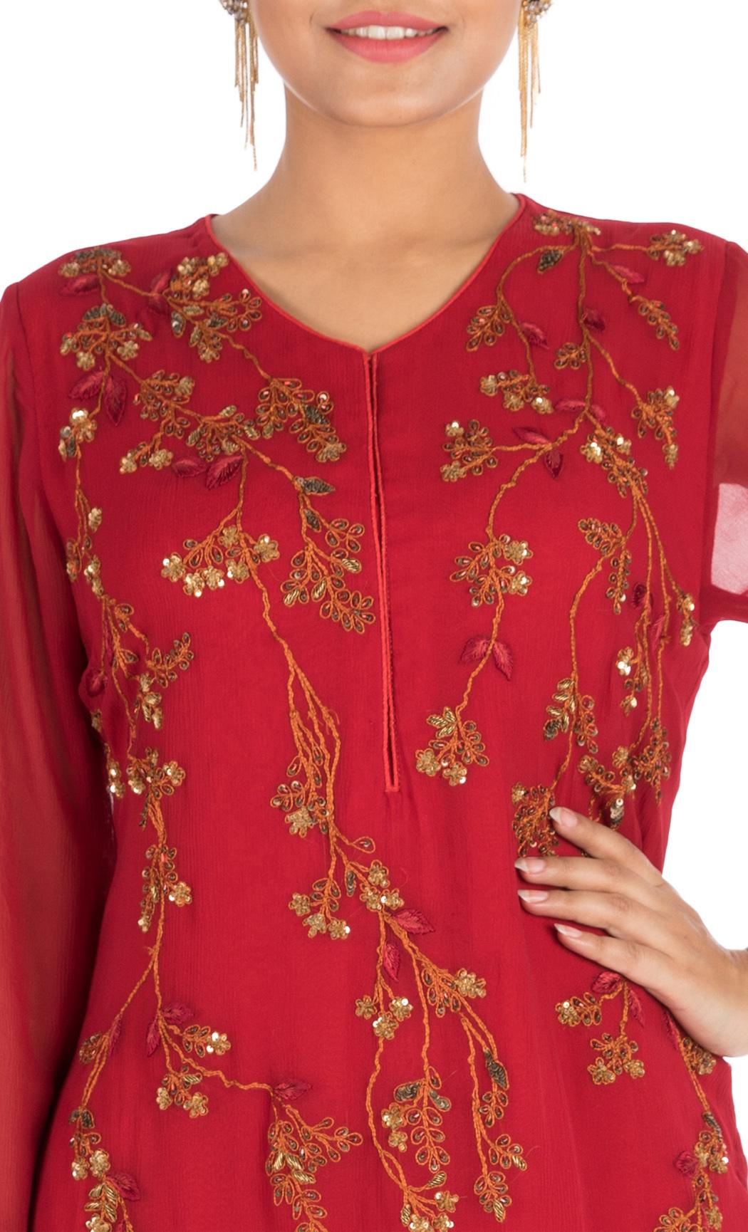Rose Blush Embroidered Double Layered Kurti