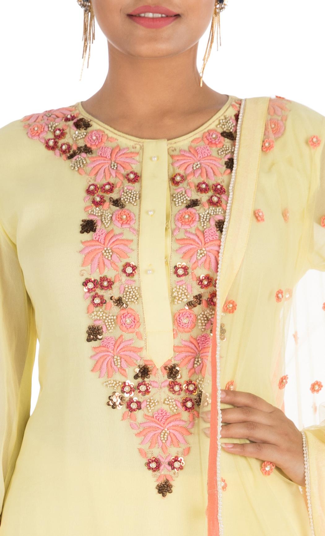 Yellow Embroidered Kurta and Sharara