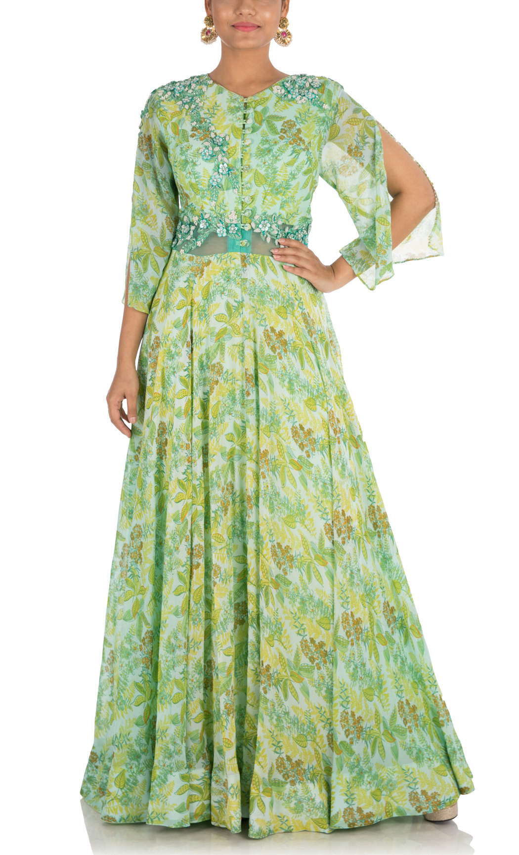 Fern Green Printed Indowestern Gown