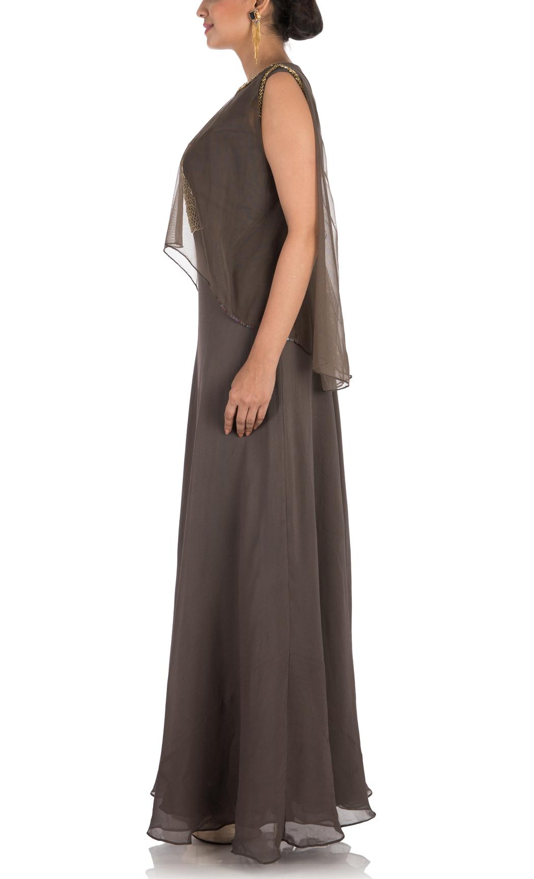 Brown Indowestern Gown