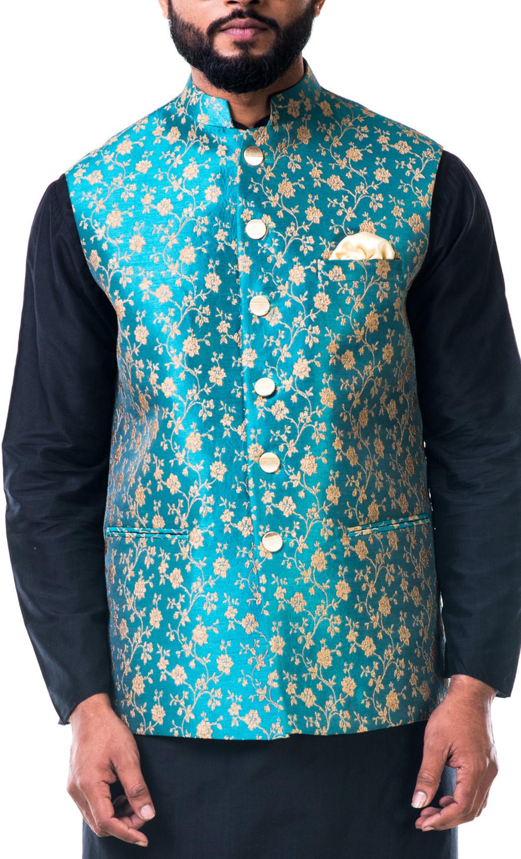 Blue Brocade Nehru Jacket