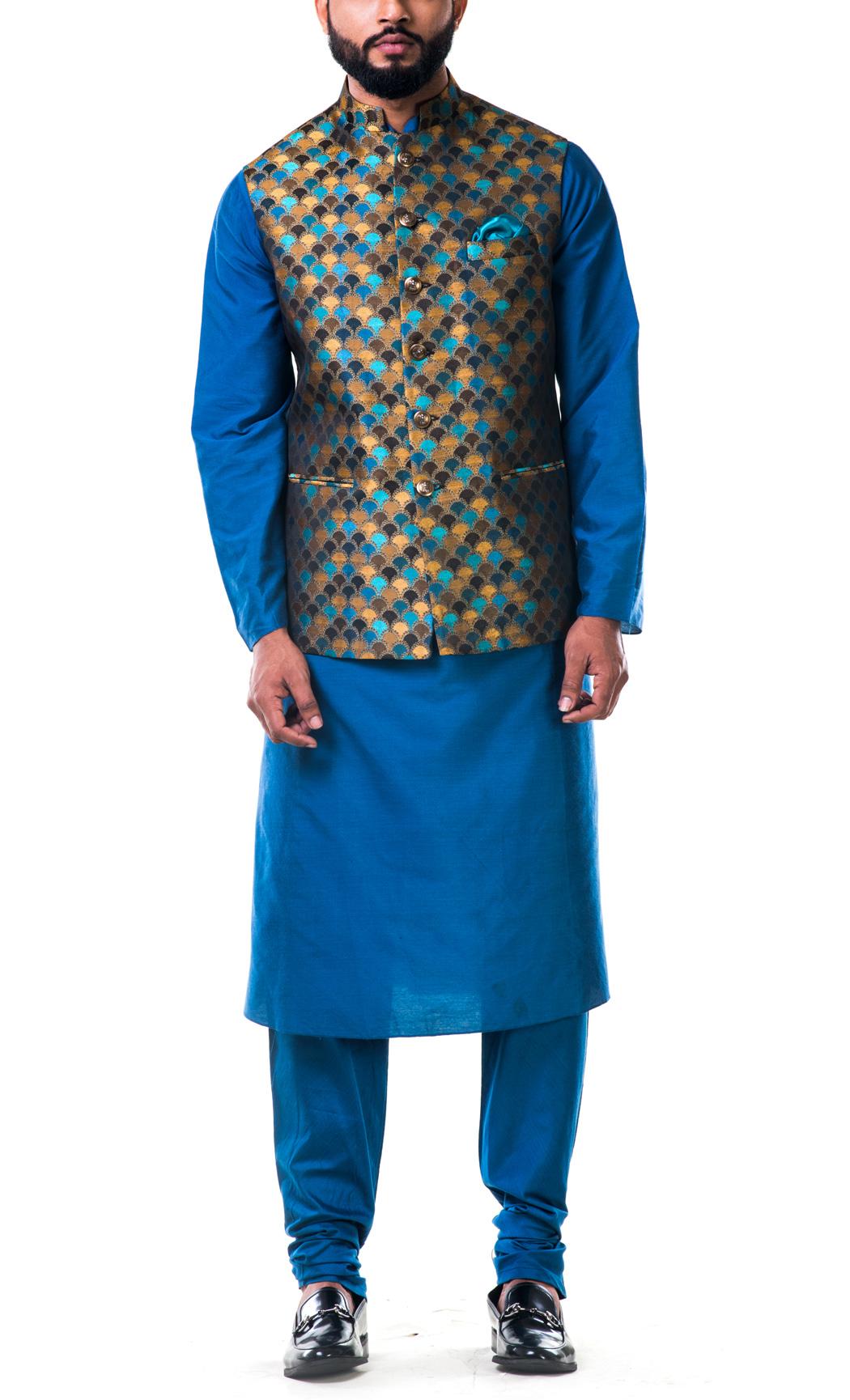 Blue Katan Silk Kurta and Scallop Nehru Jacket Set