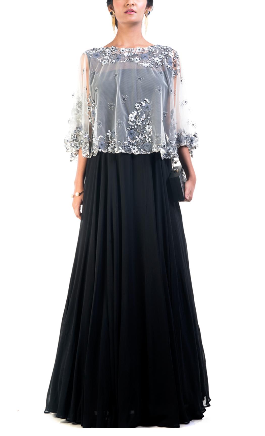Dim Grey & Black Cape Gown Set