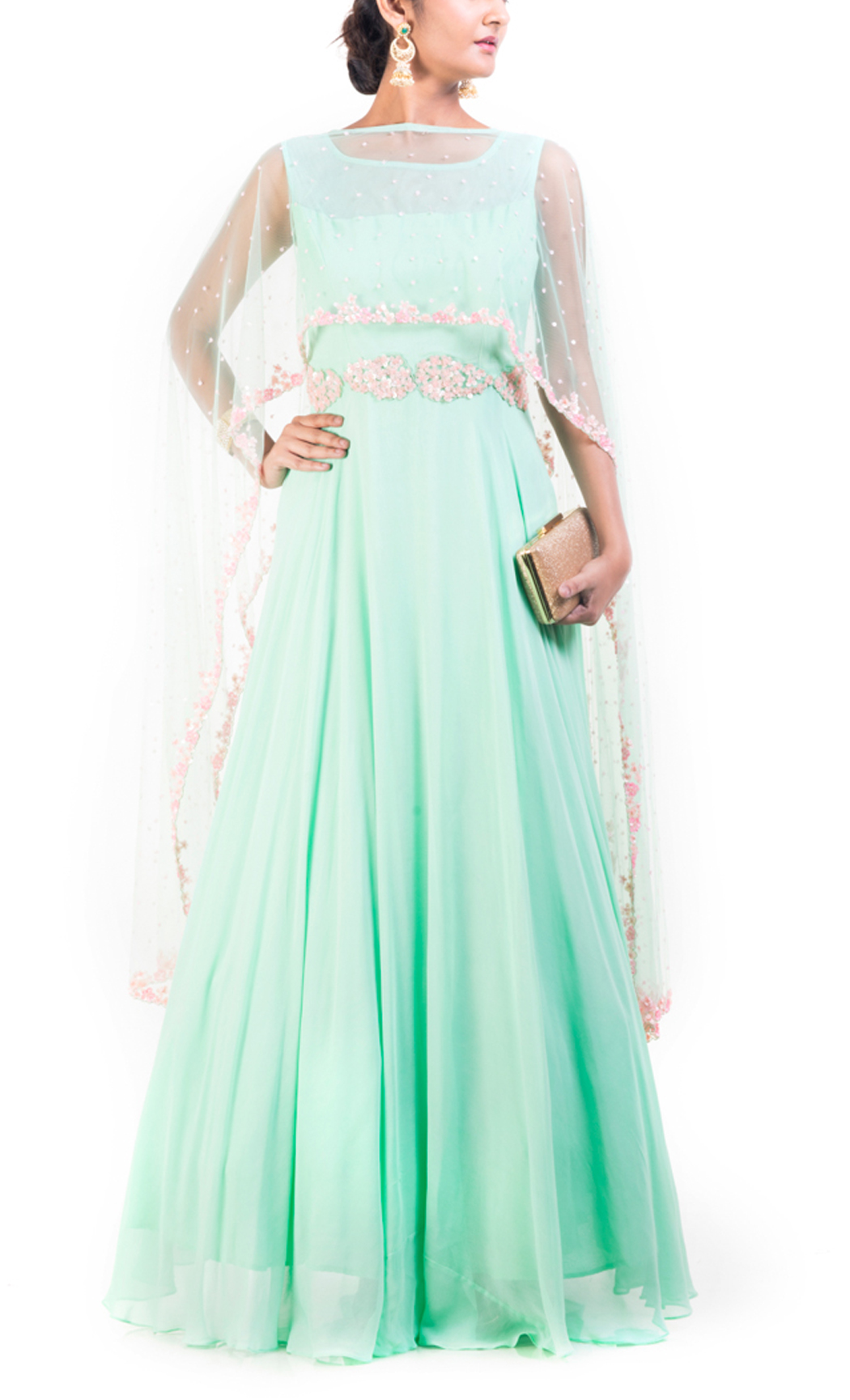 Azure Cape Gown With Carnation Pink Embroidery