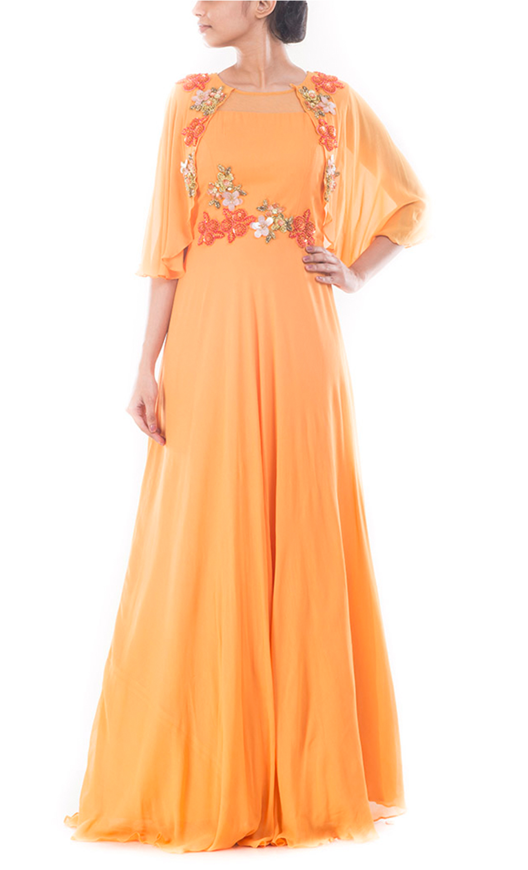 Coral Yellow Flare Jacket Gown.