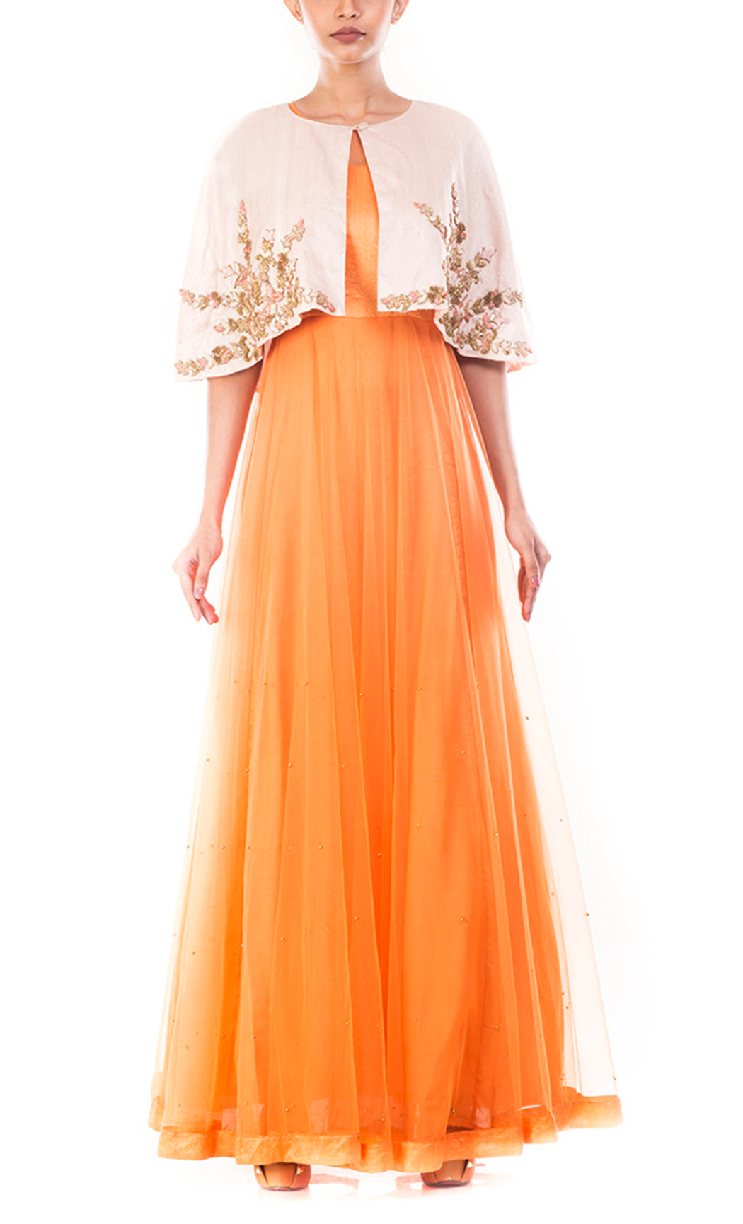 Tangerine Vintage Gown with an Embellished Jacket