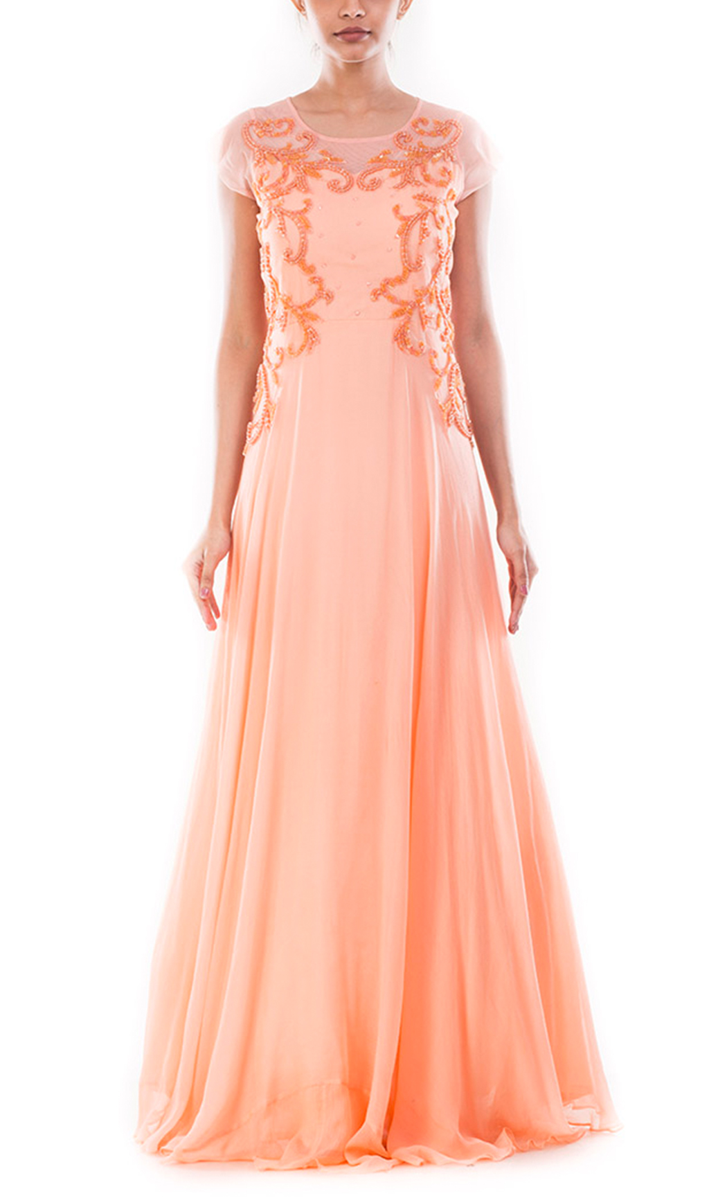 Peach Embellished Long Gown