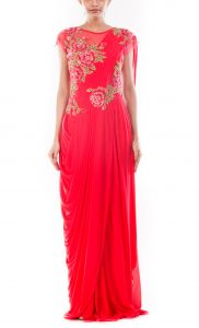 Crimson Red Drapped Gown Saree
